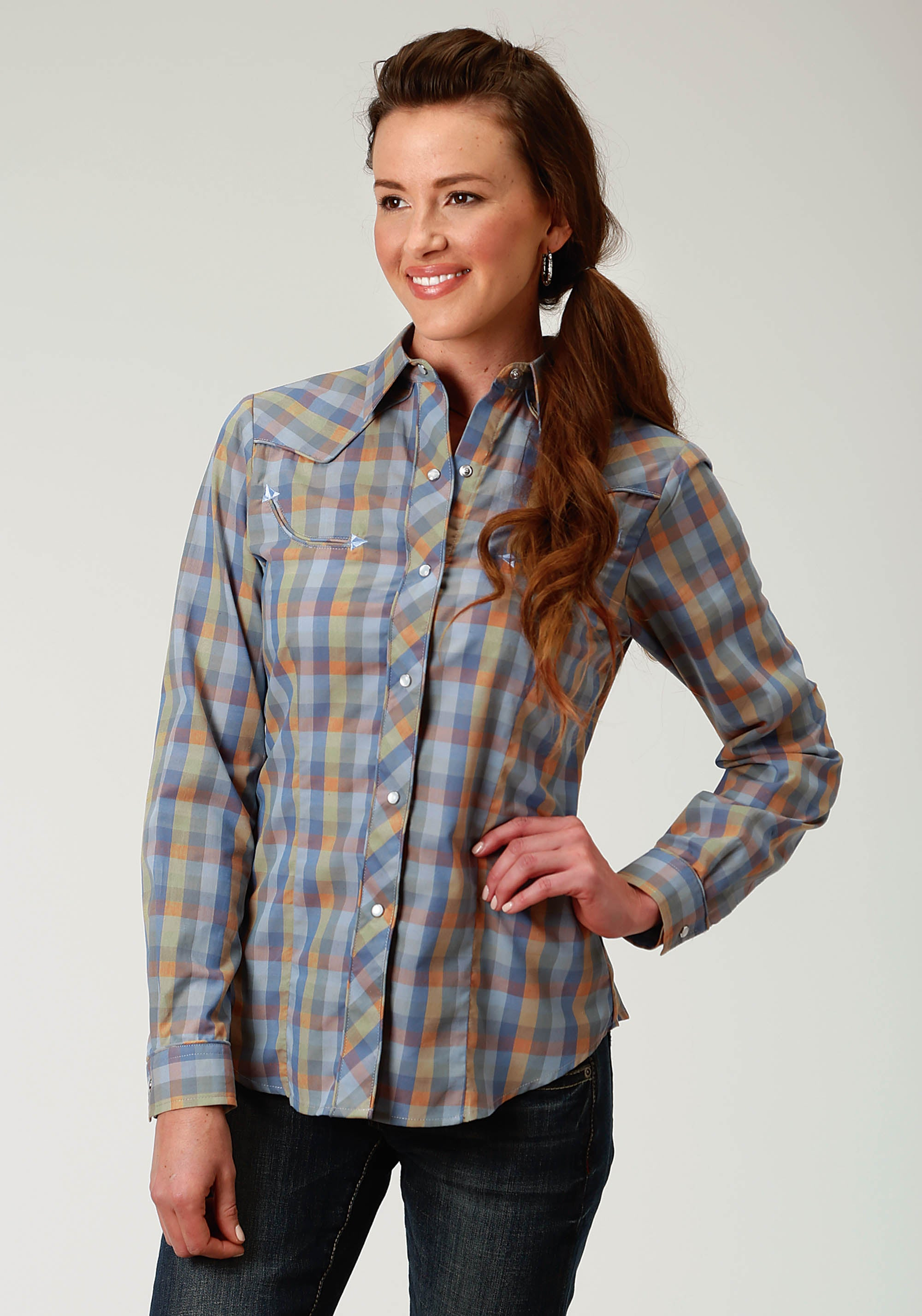 ROPER WOMENS BLUE 1925 MULTI COLOR MINI BUFFALO CHECK KARMAN SPECIAL STYLES LONG SLEEVE