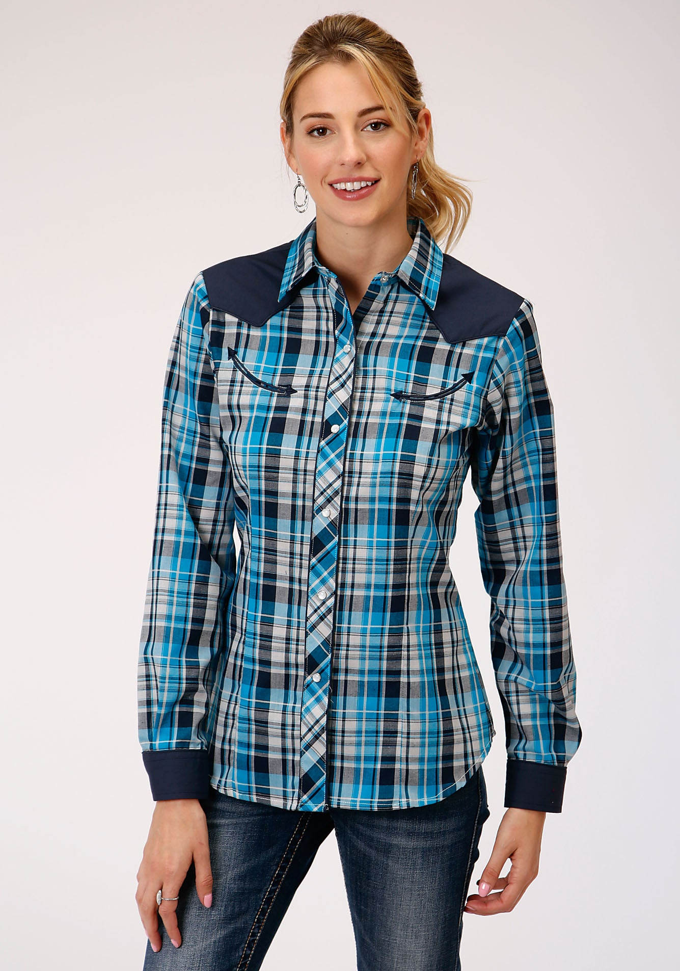 ROPER WOMENS BLUE 00053 TURQUOISE/BLACK/GREY PLAID KARMAN SPECIAL STYLES LONG SLEEVE