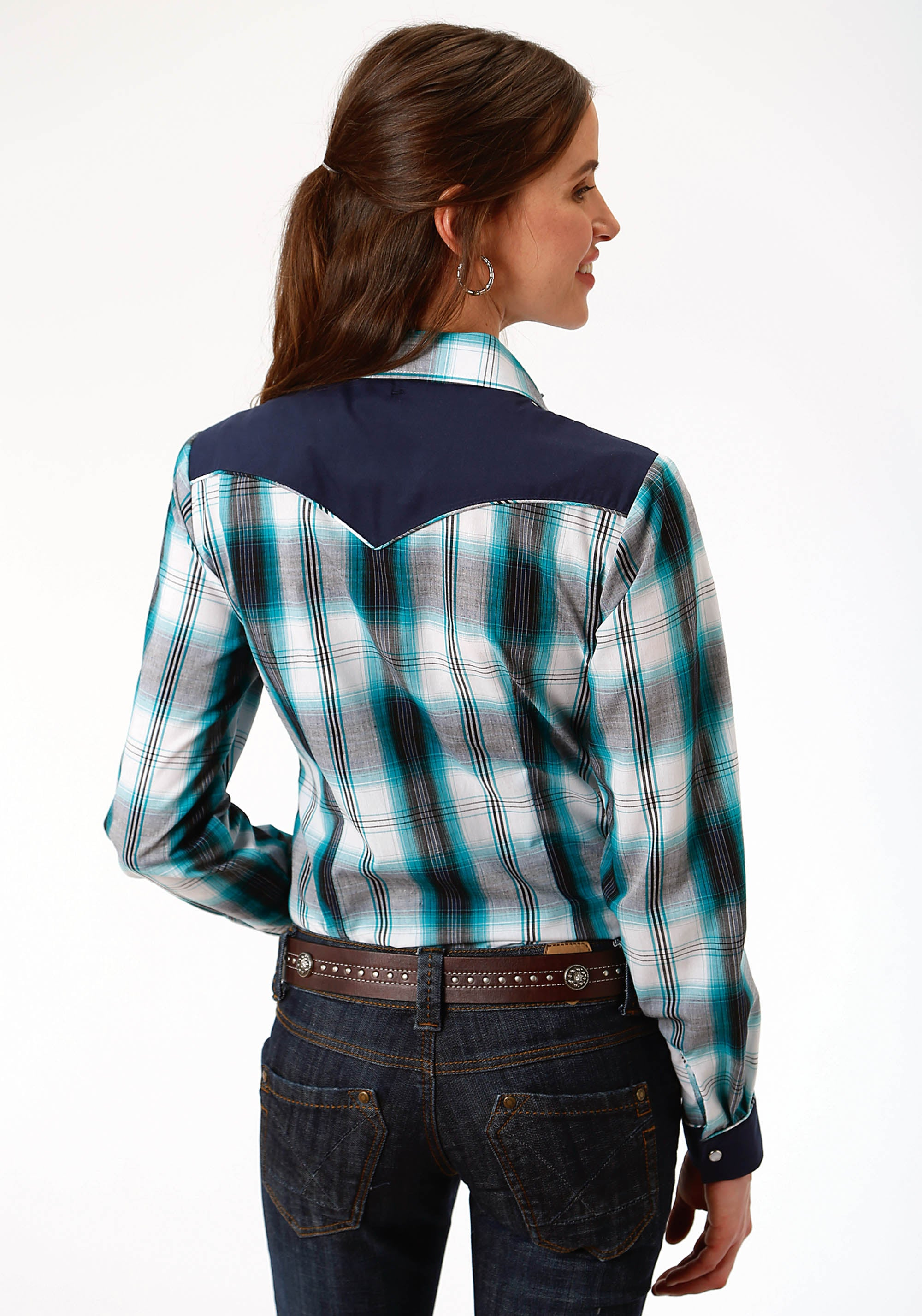 ROPER WOMENS BLUE 9912 TURQ, NAVY & WHITE PLAID KARMAN SPECIAL STYLES LONG SLEEVE