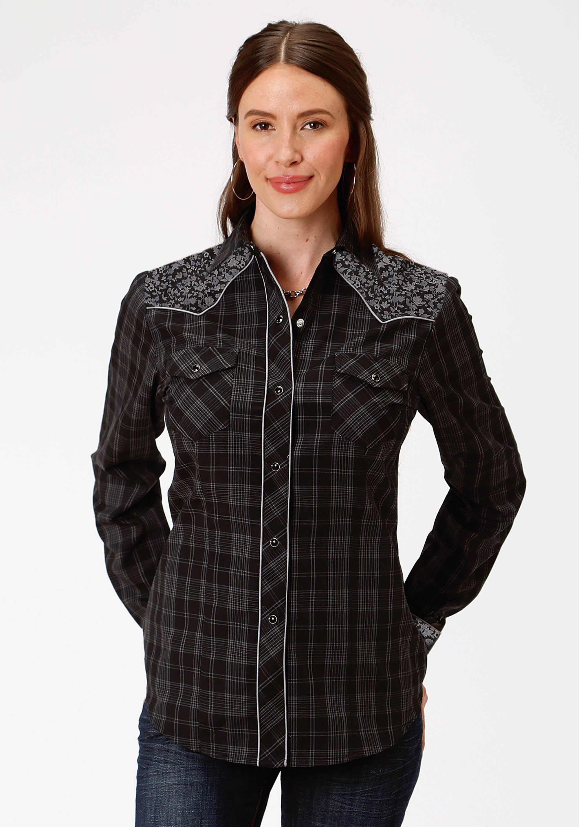 ROPER WOMENS BLACK 9951 BLACK AND GREY SMALL SCALE KARMAN SPECIAL STYLES LONG SLEEVE