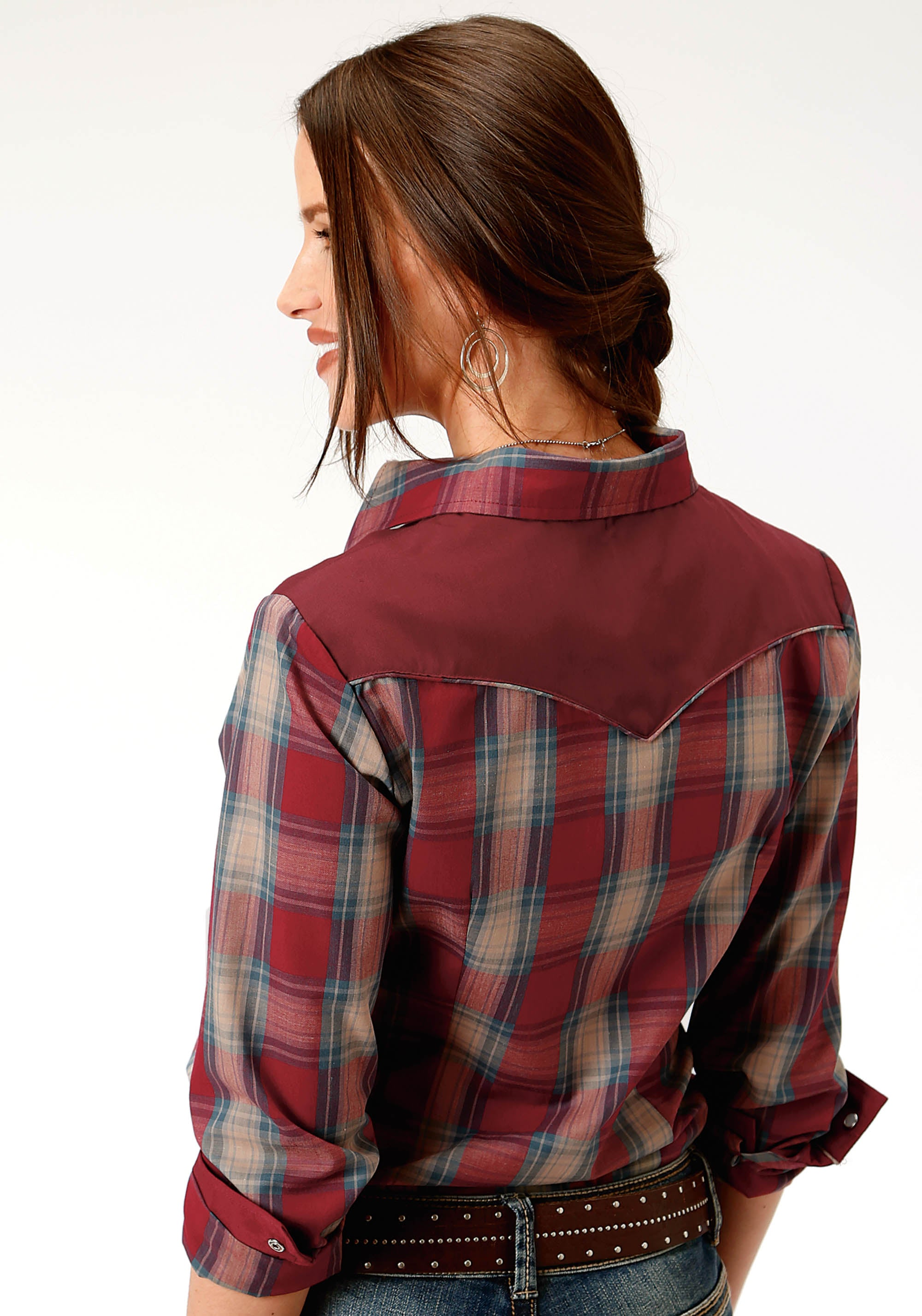 ROPER WOMENS RED 0114 RED DUTCH BLUE & TAN PLAID KARMAN SPECIAL STYLES LONG SLEEVE