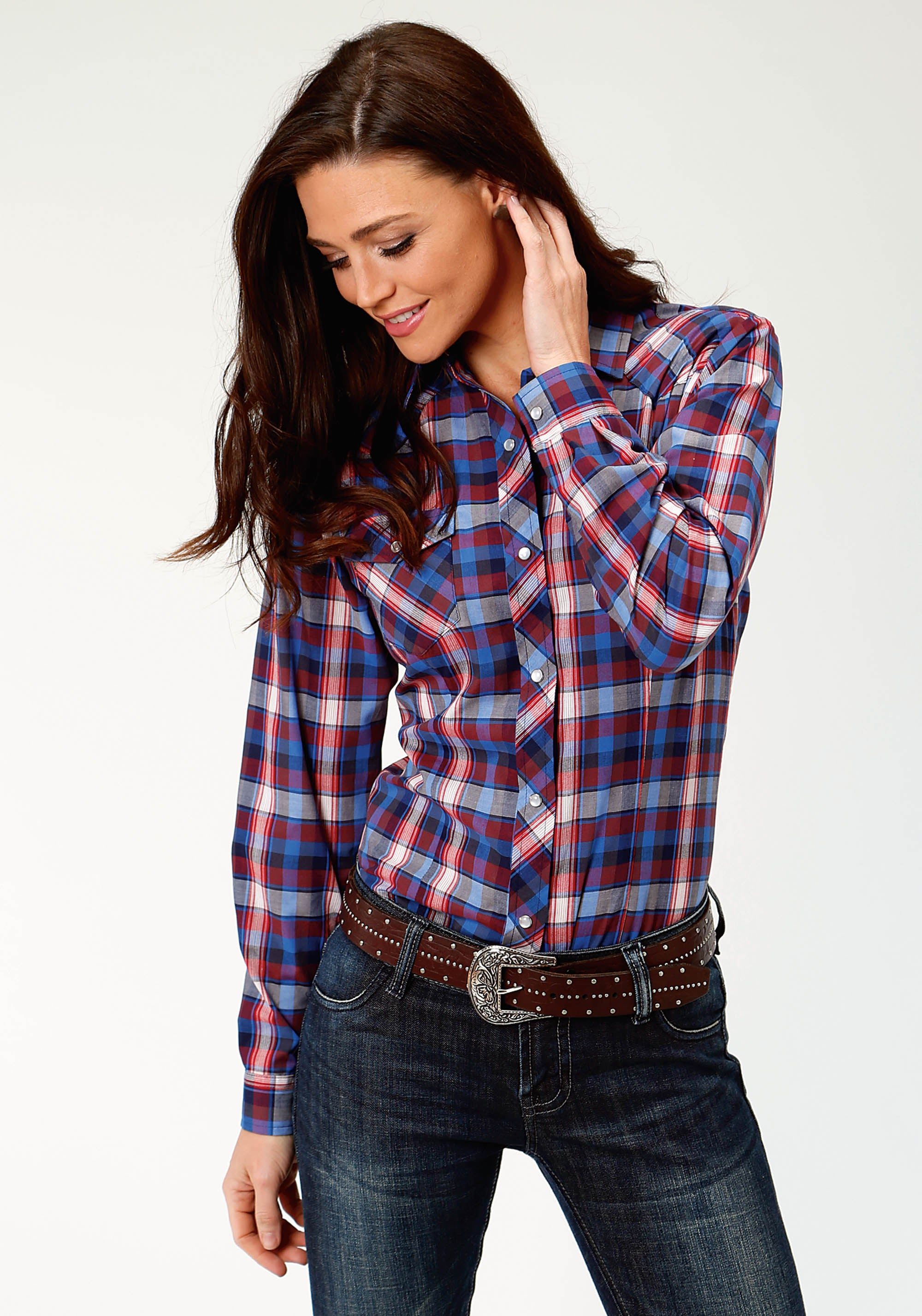ROPER WOMENS RED 3640 RED, NAVY, & BRIGHT BLUE PLAID KARMAN CLASSICS- 55/45 PLAID LONG SLEEVE