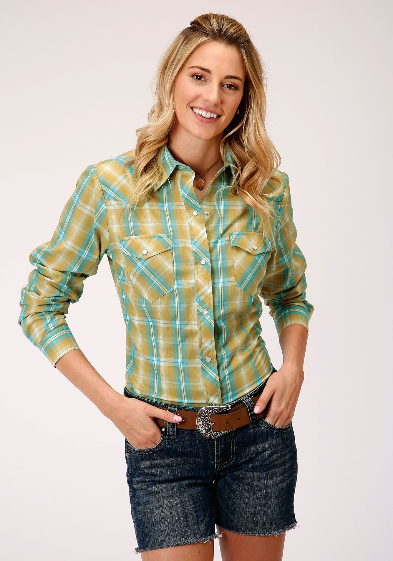 ROPER WOMENS GREEN 00044 CELERY & TURQUOISE PLAID KARMAN CLASSICS- 55/45 PLAIDS LONG SLEEVE