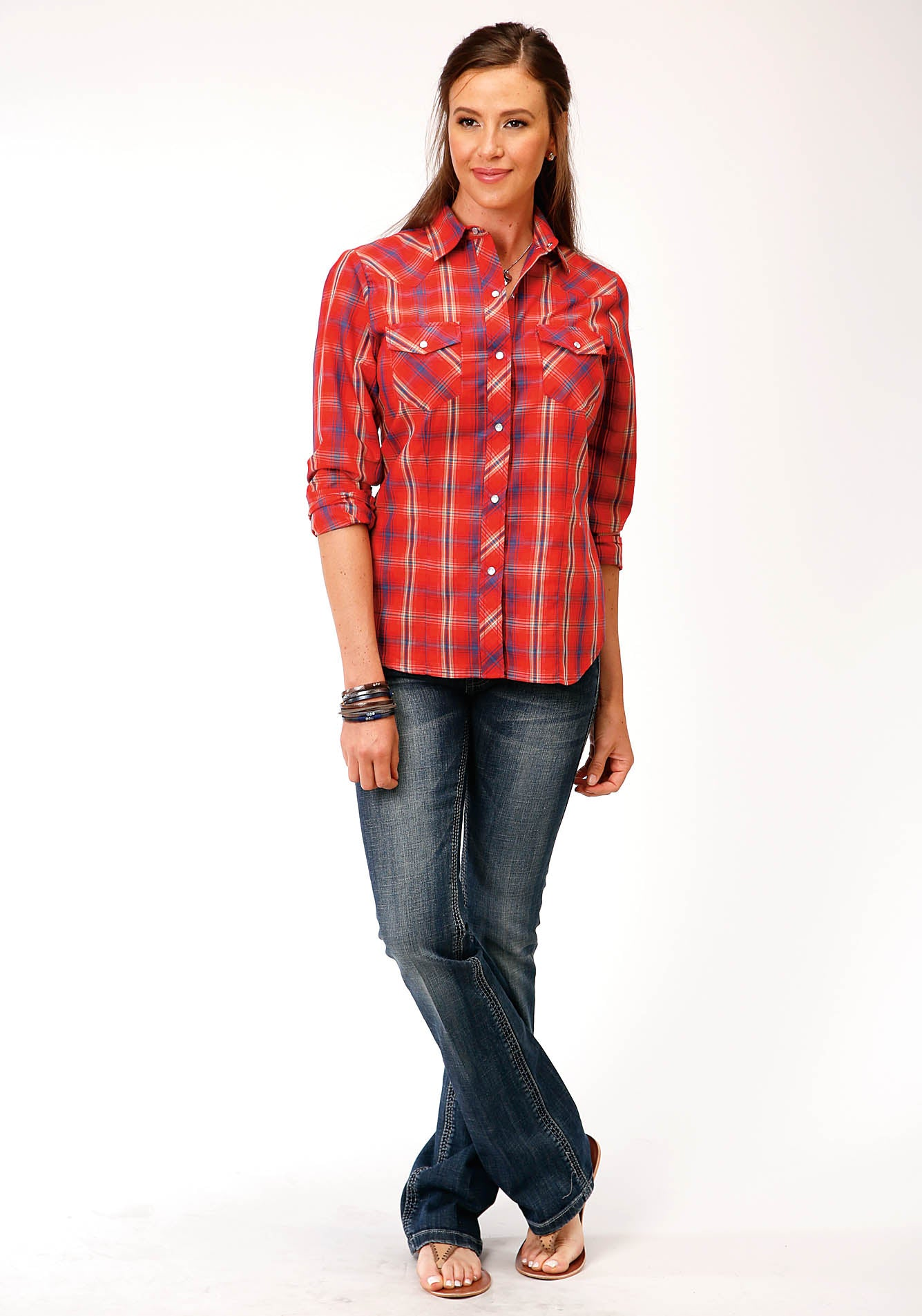 ROPER WOMENS RED 00210 RED, BLUE, TAN AND WHITE PLAID KARMAN CLASSICS- 55/45 PLAIDS LONG SLEEVE