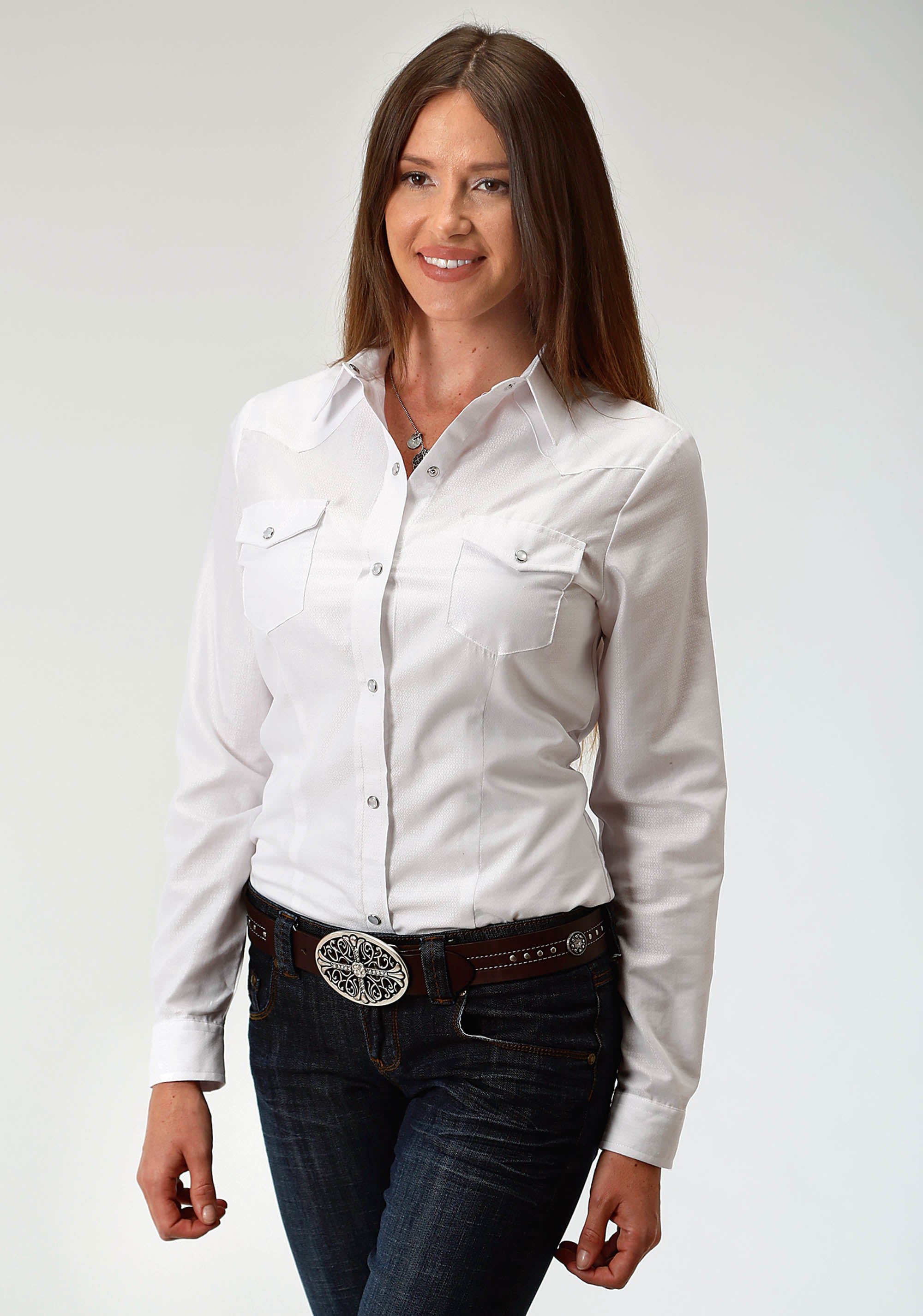 ROPER WOMENS WHITE 3602 WHITE DIAMOND TONE ON TONE KARMAN CLASSICS- 80/20 TONE ON TONE SOLID LONG SLEEVE