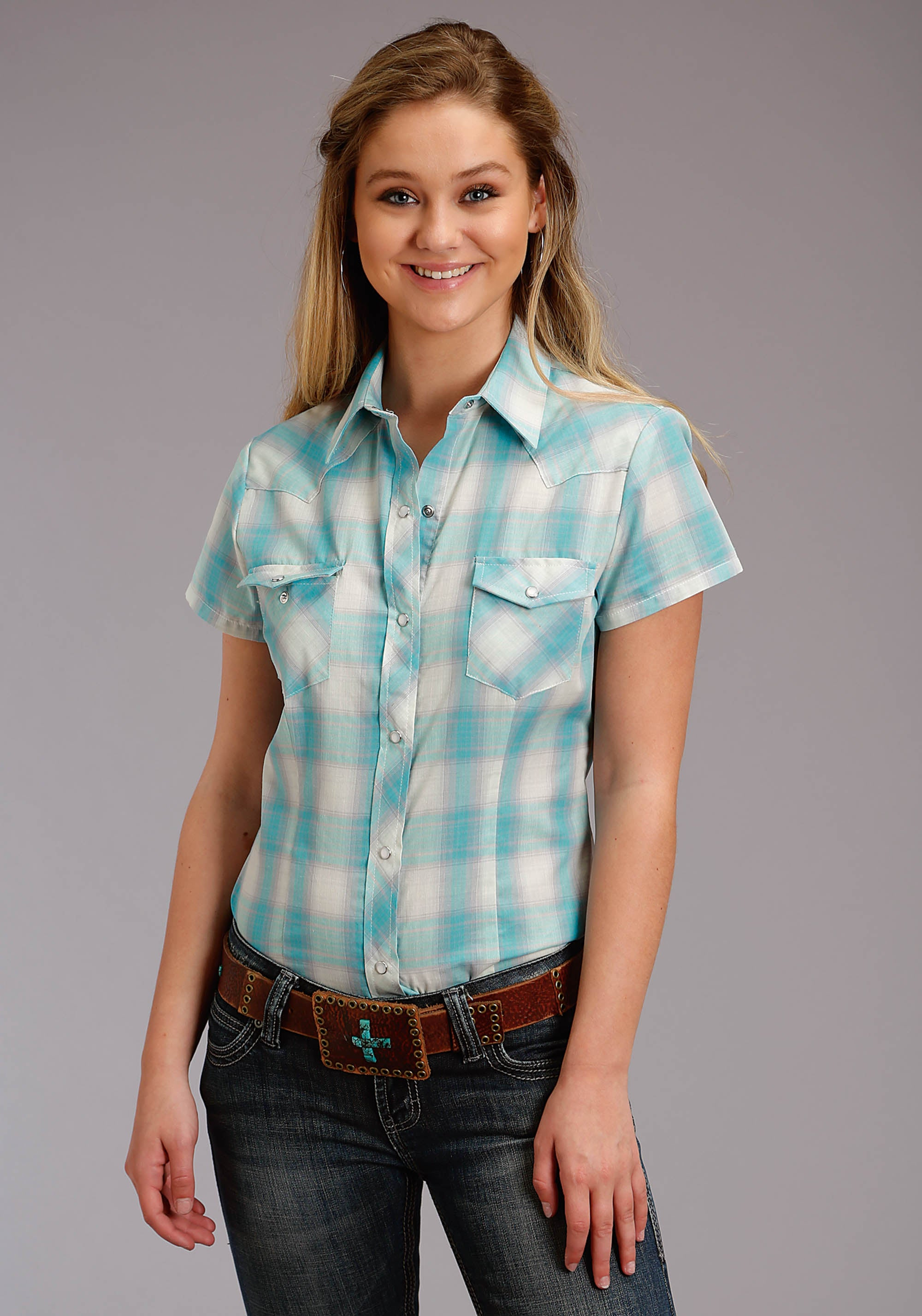 ROPER WOMENS BLUE 2817 TURQUOISE & CREAM PLAID KARMAN CLASSICS- 55/45 PLAID SHORT SLEEVE