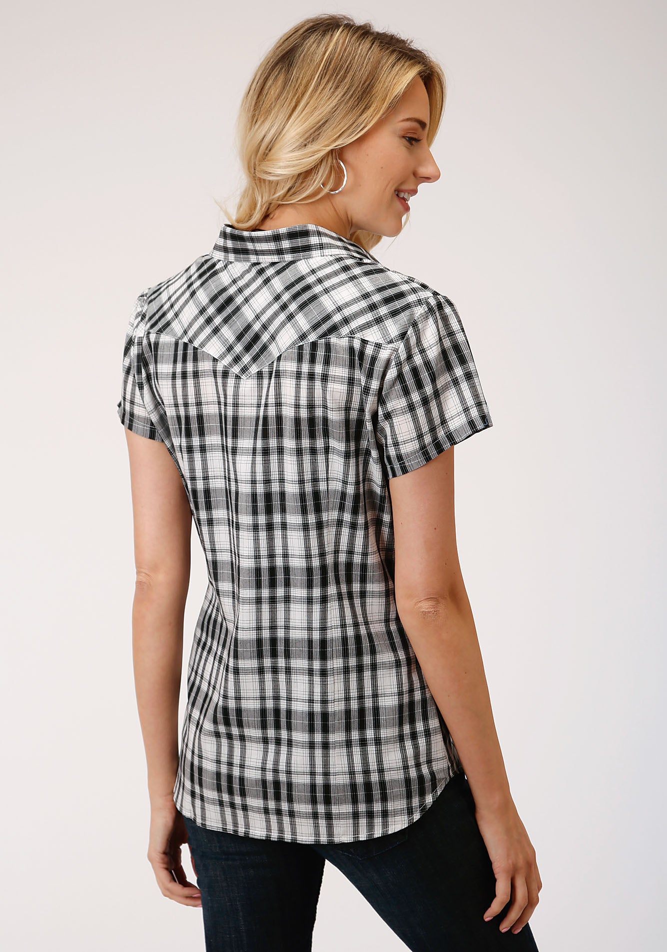 ROPER WOMENS BLACK 00042 BLACK & WHITE PLAID KARMAN CLASSICS- 55/45 PLAID SHORT SLEEVE