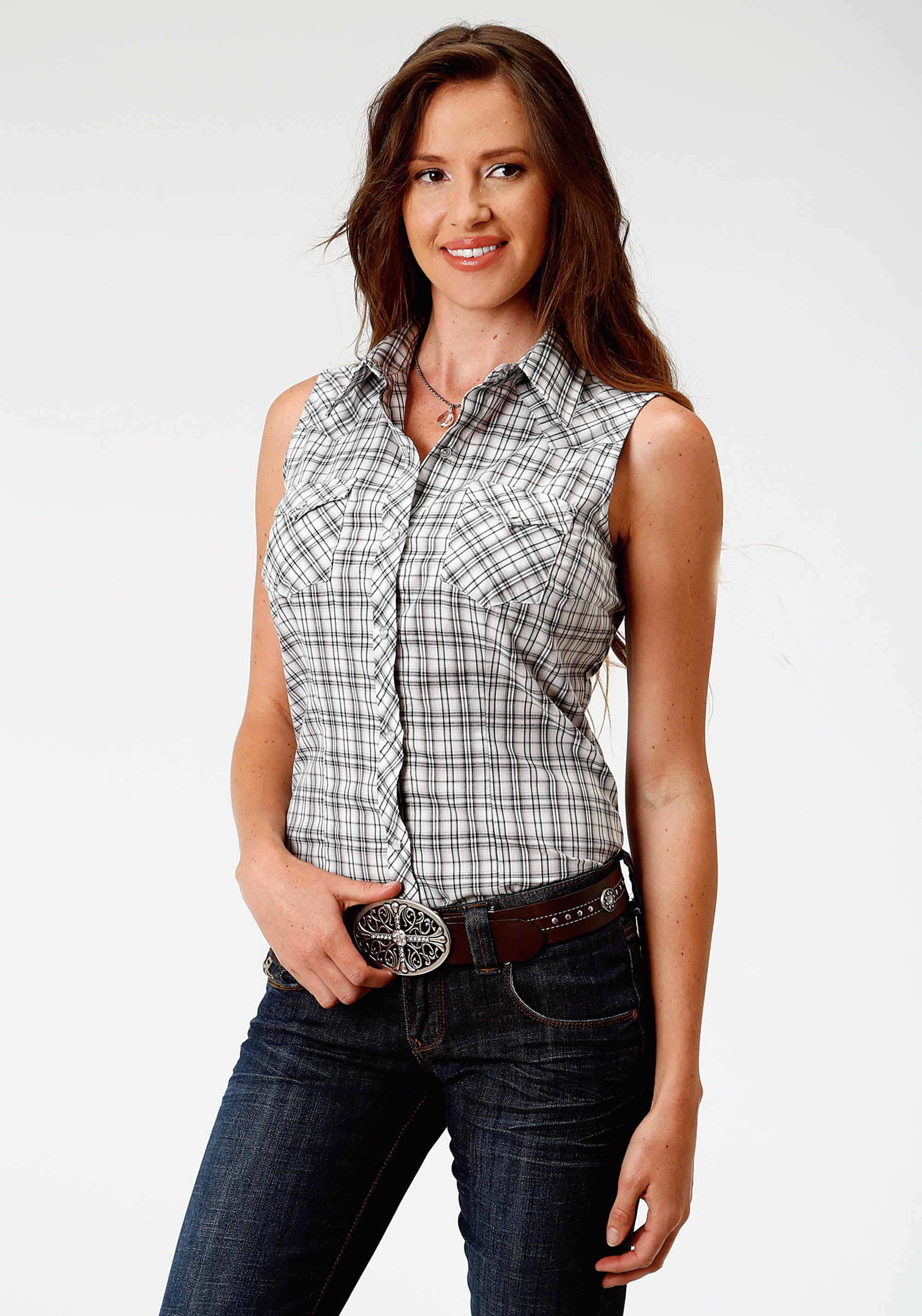 ROPER WOMENS BLACK 3636 BLACK,GREY & CREAM SMALL PLAID KARMAN CLASSICS- 55/45 PLAID SLEEVELESS
