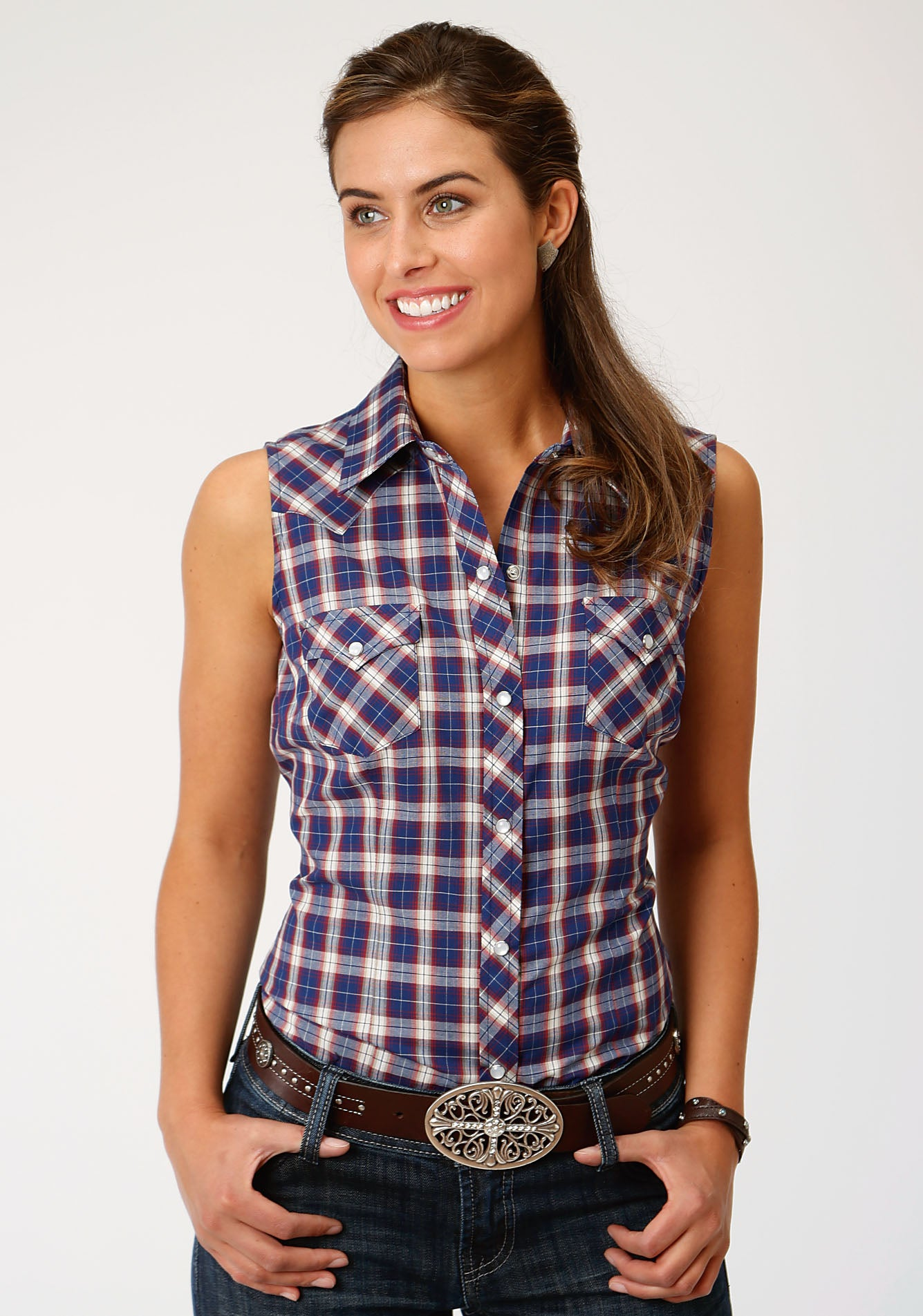 ROPER WOMENS BLUE 00041 NAVY/RED/TAN PLAID KARMAN CLASSICS- 55/45 PLAID SLEEVELESS