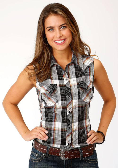 ROPER WOMENS BLACK 00052 BLACK, WHITE & RUST WINDOWPANE KARMAN CLASSICS- 55/45 PLAID SLEEVELESS