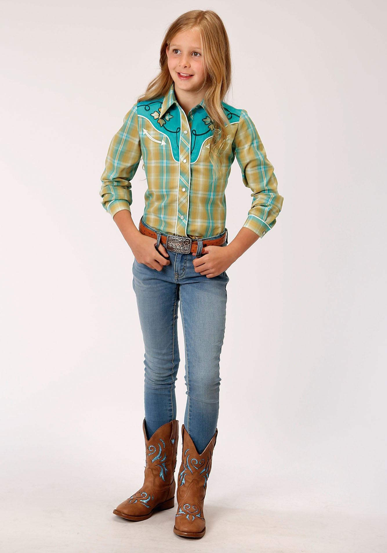 ROPER GIRLS GREEN 00044 CELERY & TURQUOISE PLAID KARMAN SPECIAL STYLES LONG SLEEVE