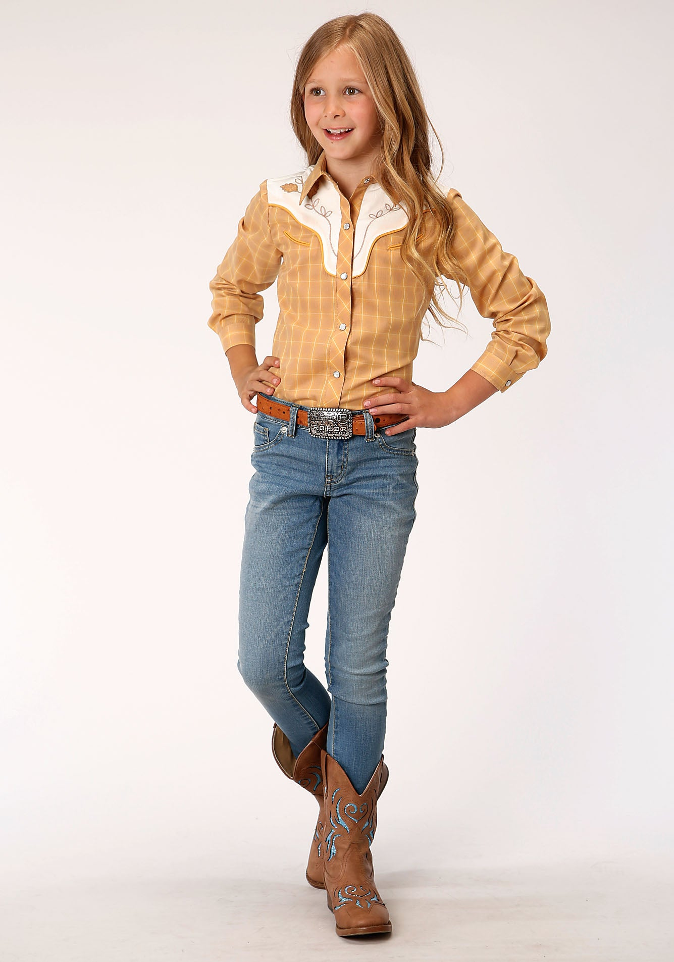 ROPER GIRLS BROWN 00047 BUTTERSCOTCH PLAID KARMAN SPECIAL STYLES LONG SLEEVE