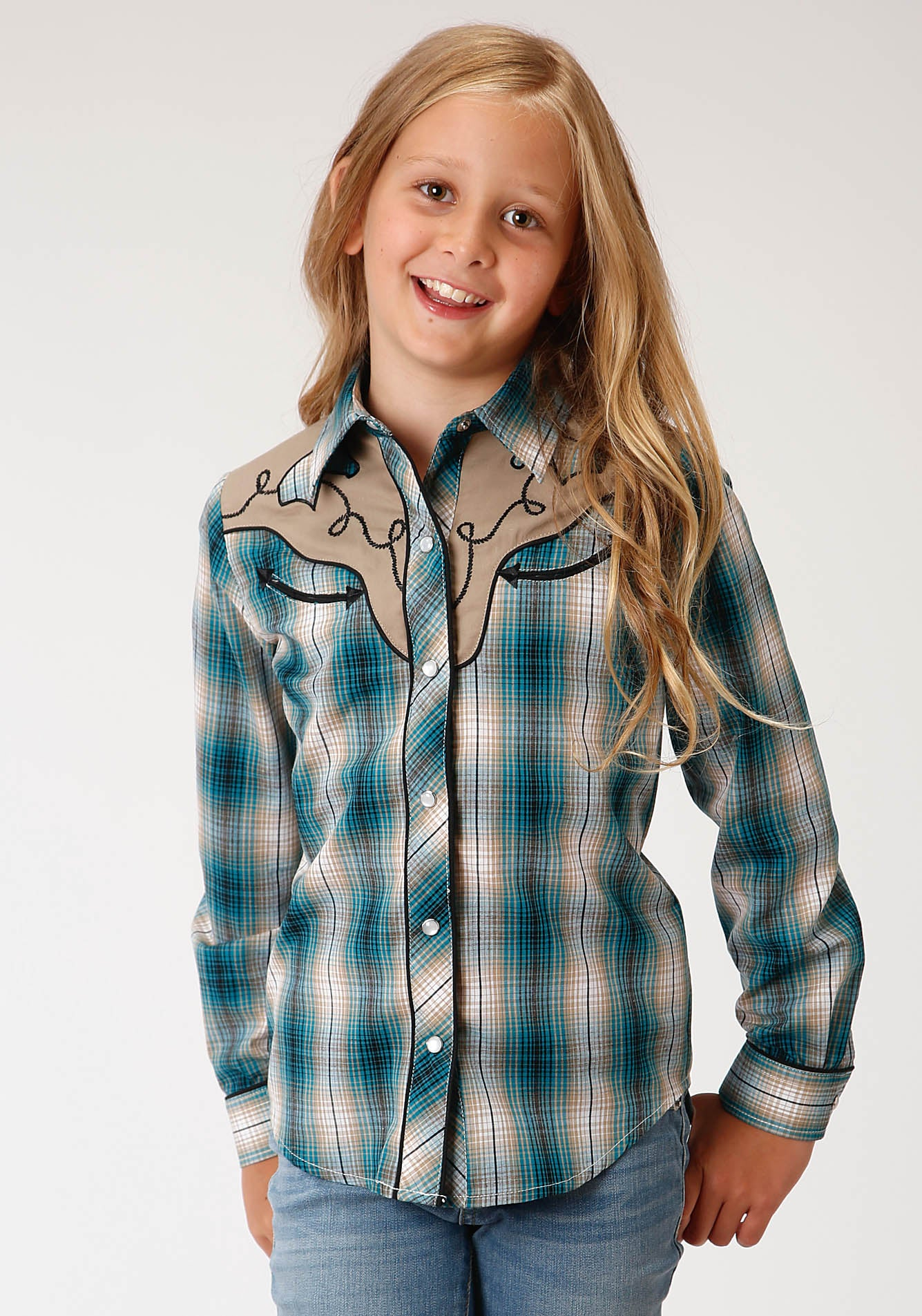 ROPER GIRLS GREEN 00213 TEAL,TAN,CREAM, & BLACK PLAID KARMAN SPECIAL STYLES LONG SLEEVE