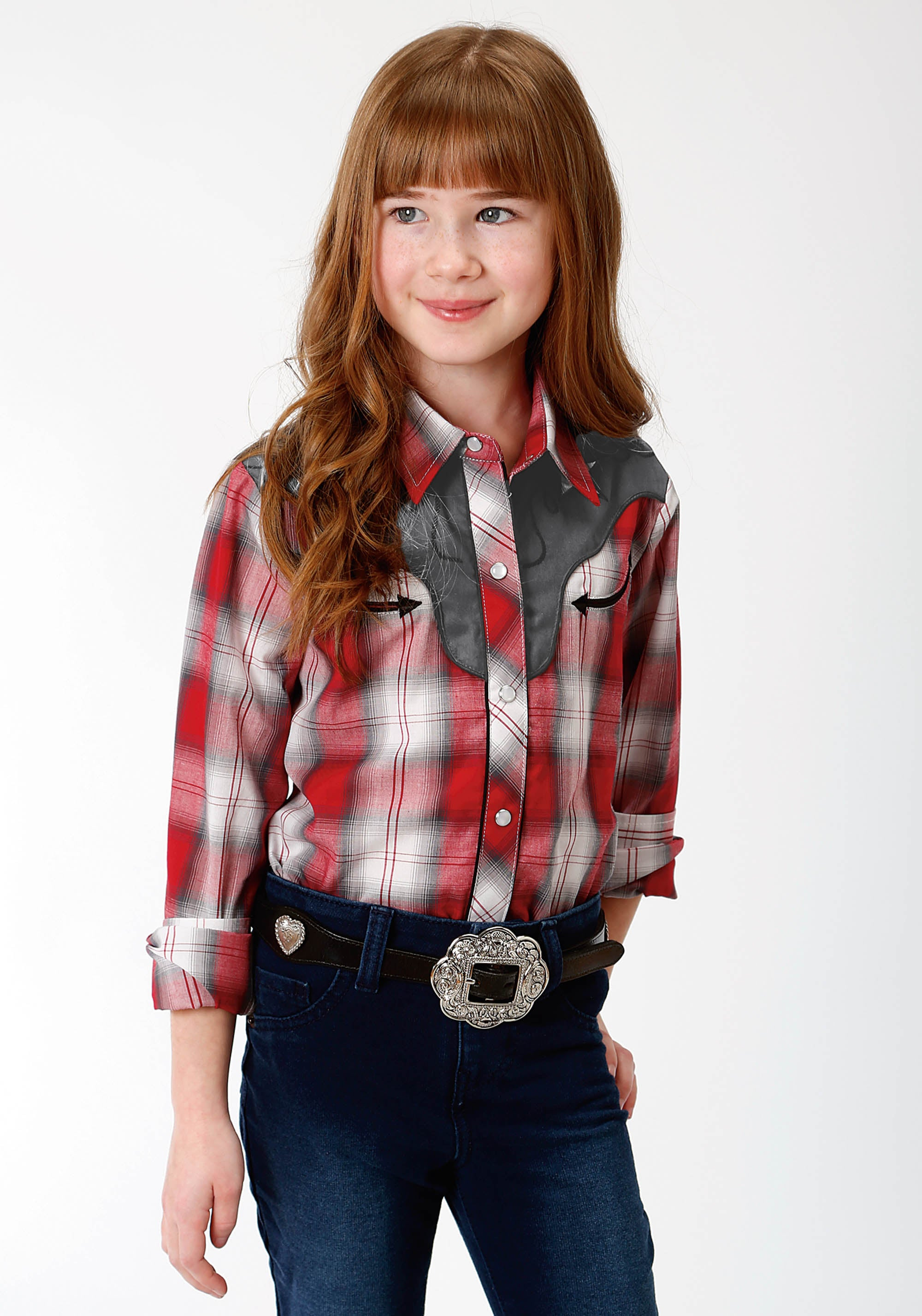 ROPER GIRLS RED 9910 RED, WHITE & GREY PLAID KARMAN SPECIAL STYLES LONG SLEEVE