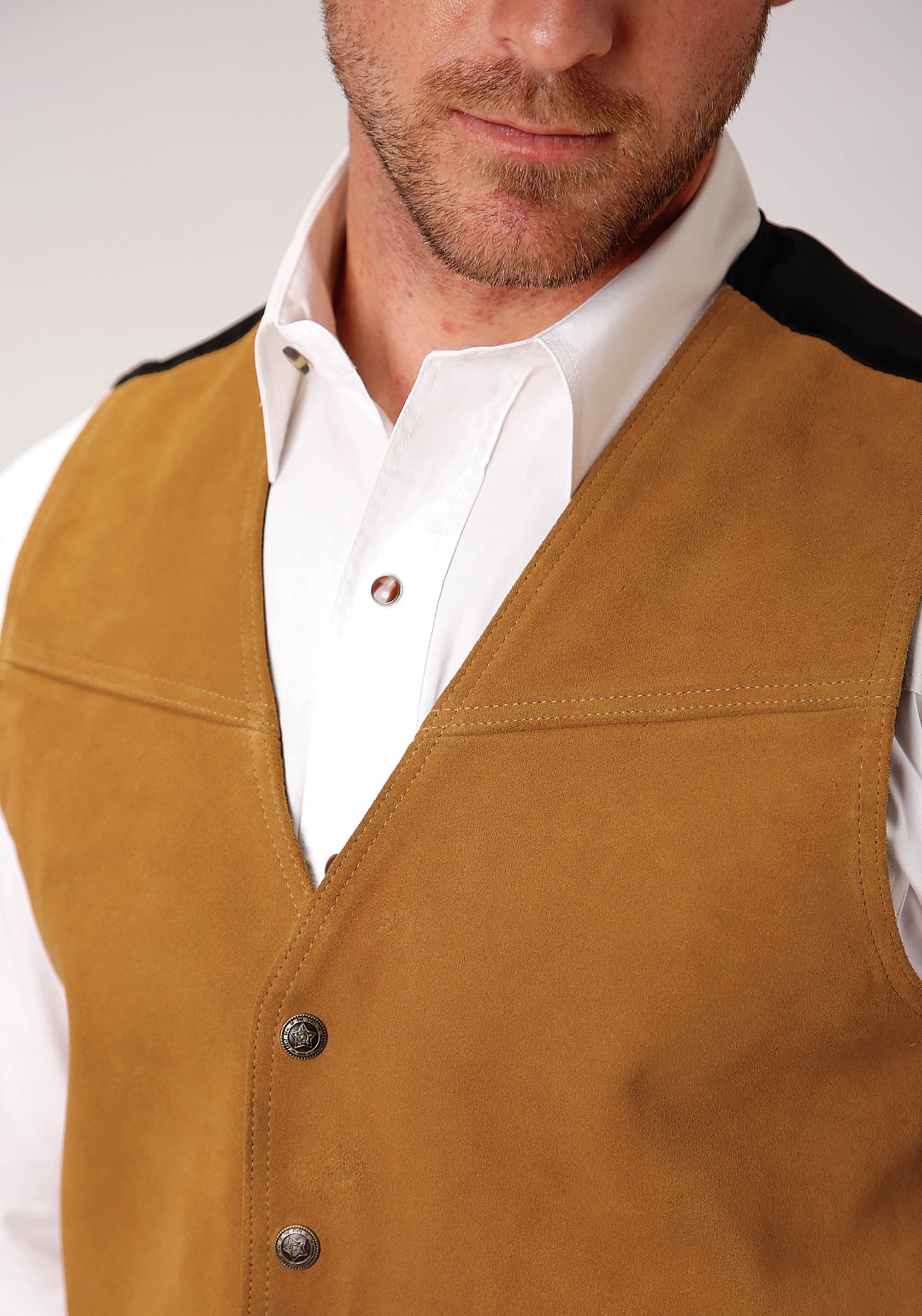 ROPER MENS BROWN COGNAC COLOR SUEDE VEST ROPER MEN'S VEST VEST