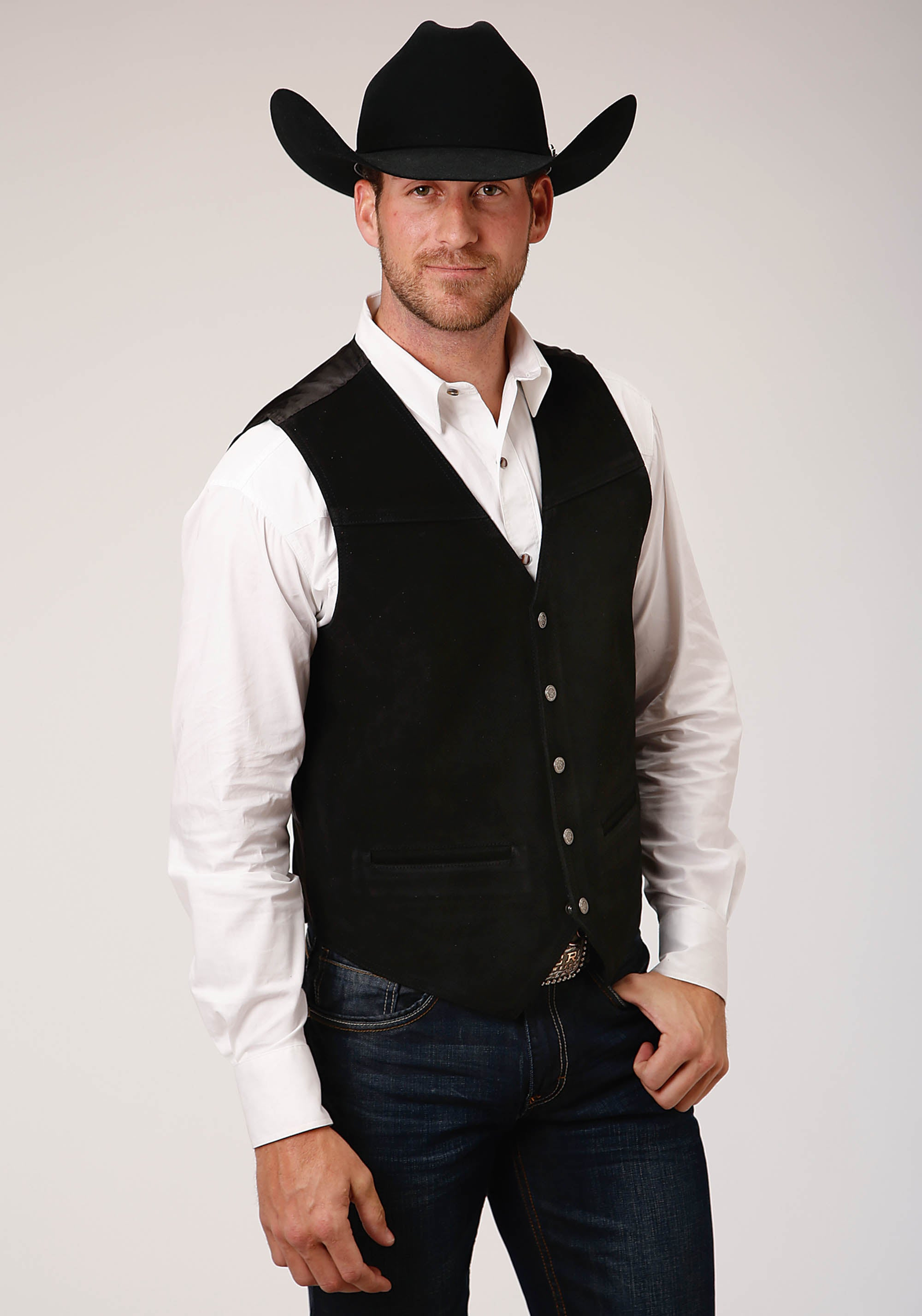 ROPER MENS BLACK BIG MAN  SUEDE VEST  W/BUCKLE TIE ROPER MEN'S VEST VEST