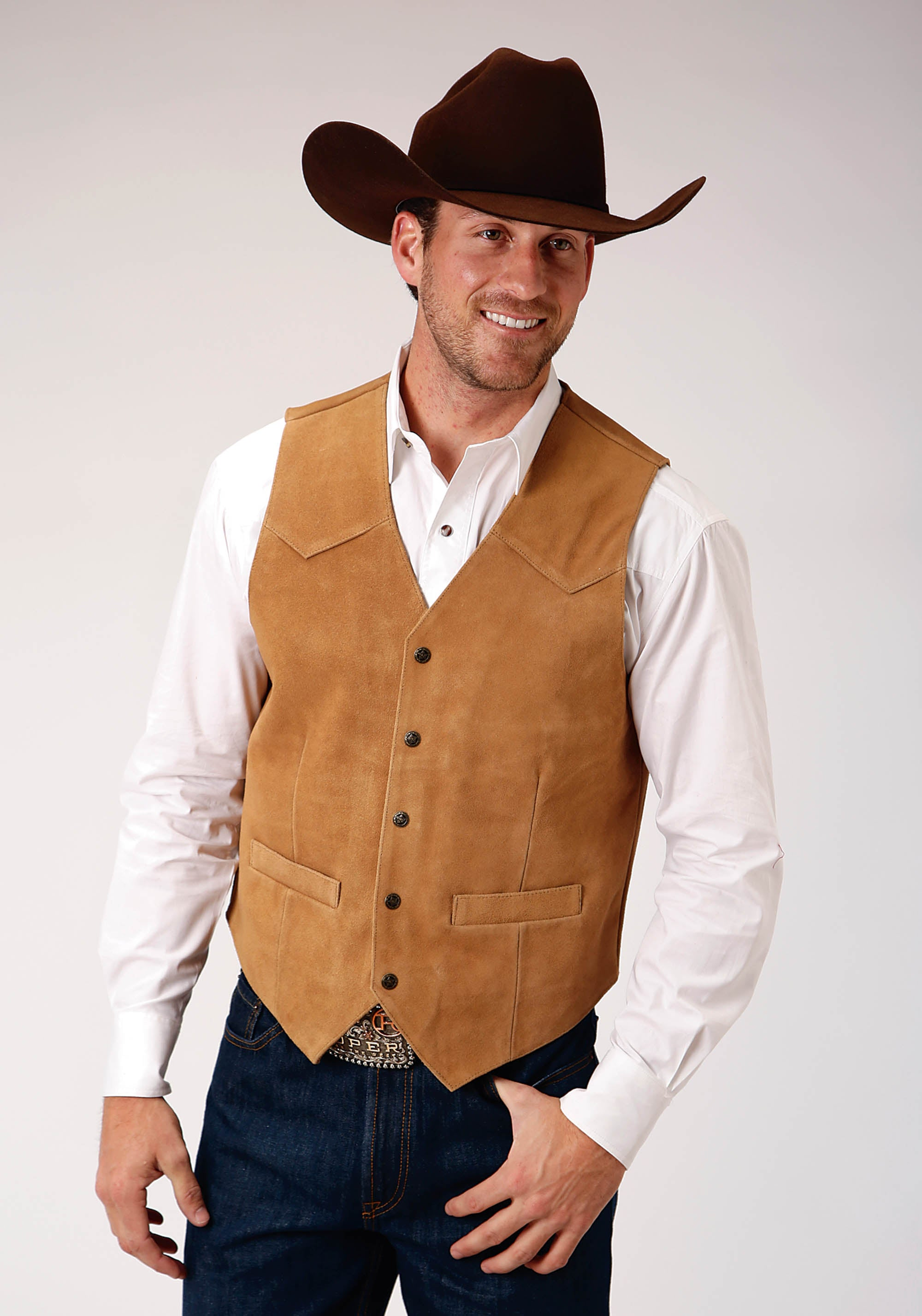 ROPER MENS BROWN TALL MAN SAND COLOR SUEDE VEST ROPER MEN'S VEST VEST
