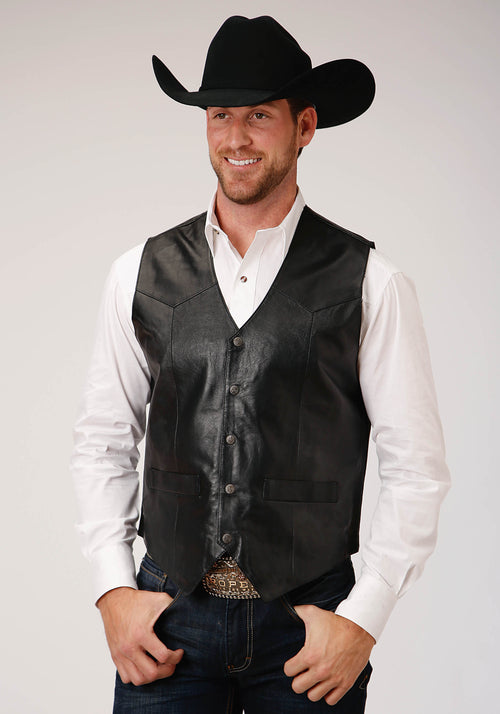 ROPER MENS BLACK WESTERN VEST WITH YOKES ROPER MEN'S VEST VEST