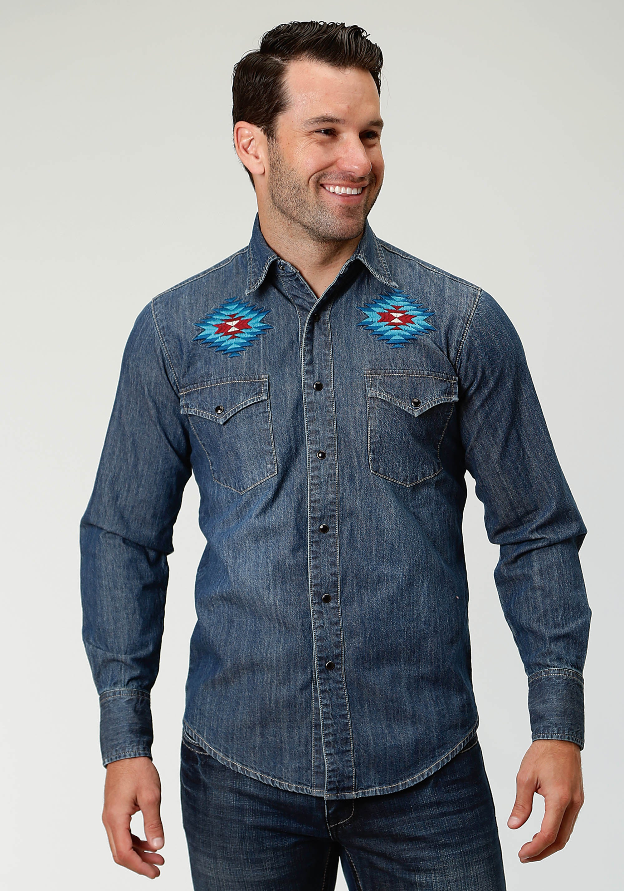 ROPER MENS BLUE 6 OZ DENIM SHIRT W/EAGLE EMB ON BACK MEN'S AMERICANA COLLECTION LONG SLEEVE