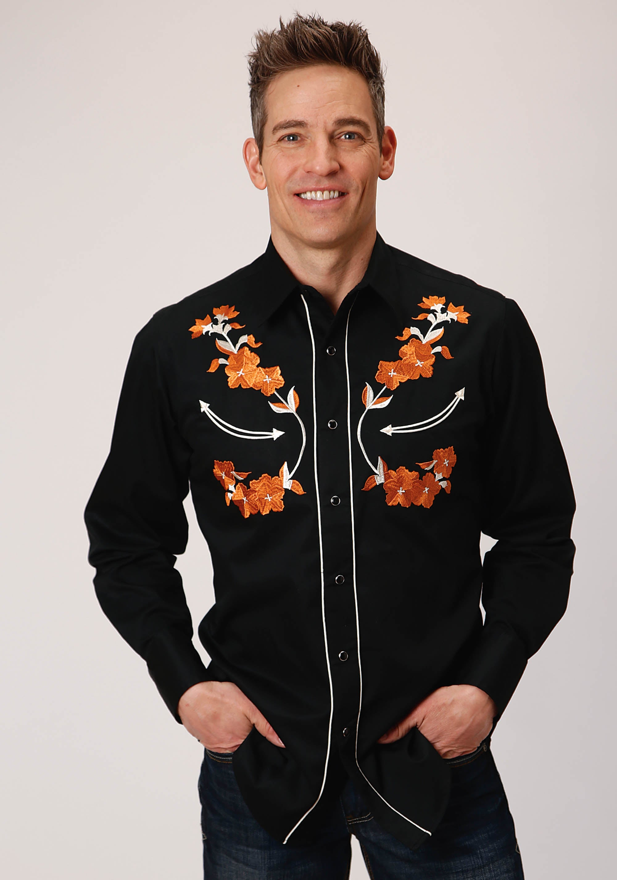 ROPER MENS BLACK 00351 COTTON W/FLORAL EMB FRT/BK YOKES OLD WEST COLLECTION LONG SLEEVE