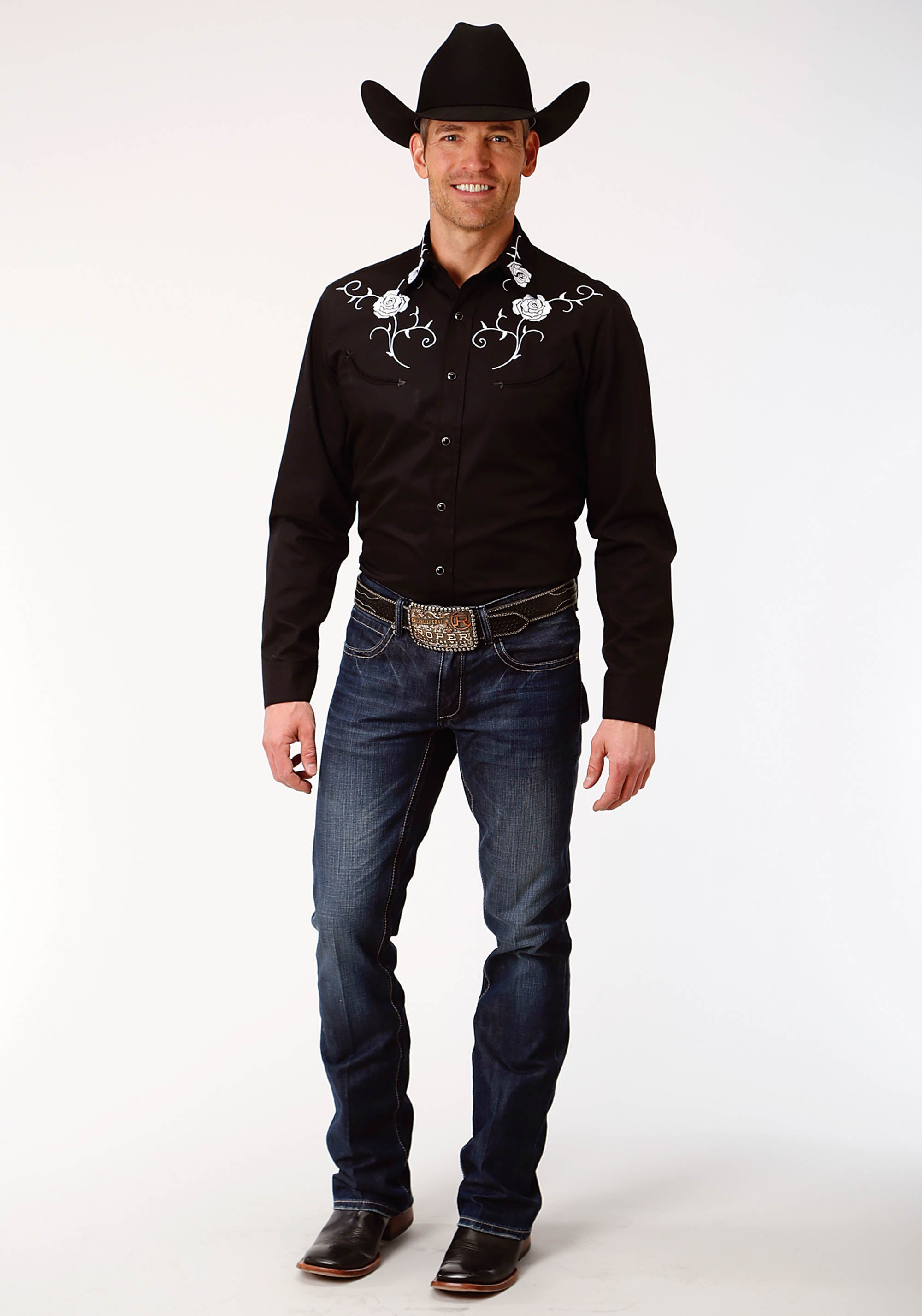 ROPER MENS BLACK 3915 COTTON TWILL SHIRT OLD WEST COLLECTION LONG SLEEVE