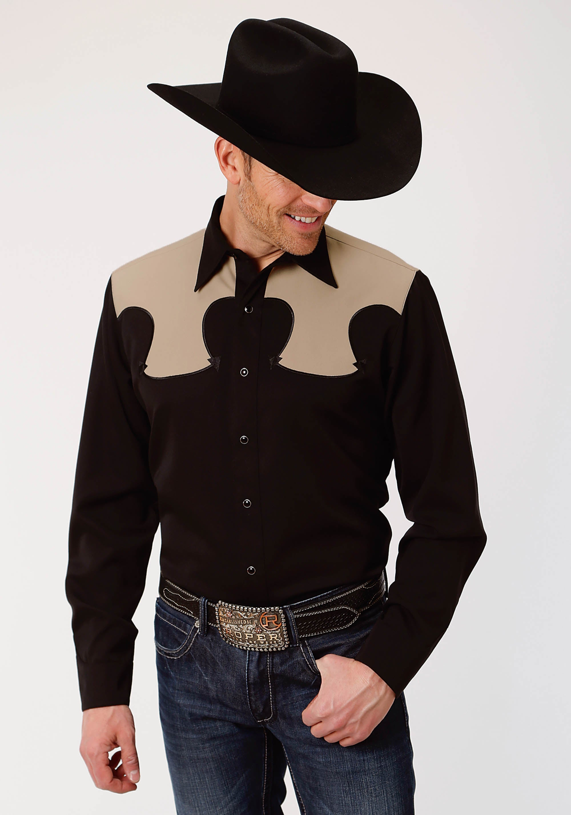 ROPER MENS BLACK 3800 POLY RAYON SHIRT OLD WEST COLLECTION LONG SLEEVE