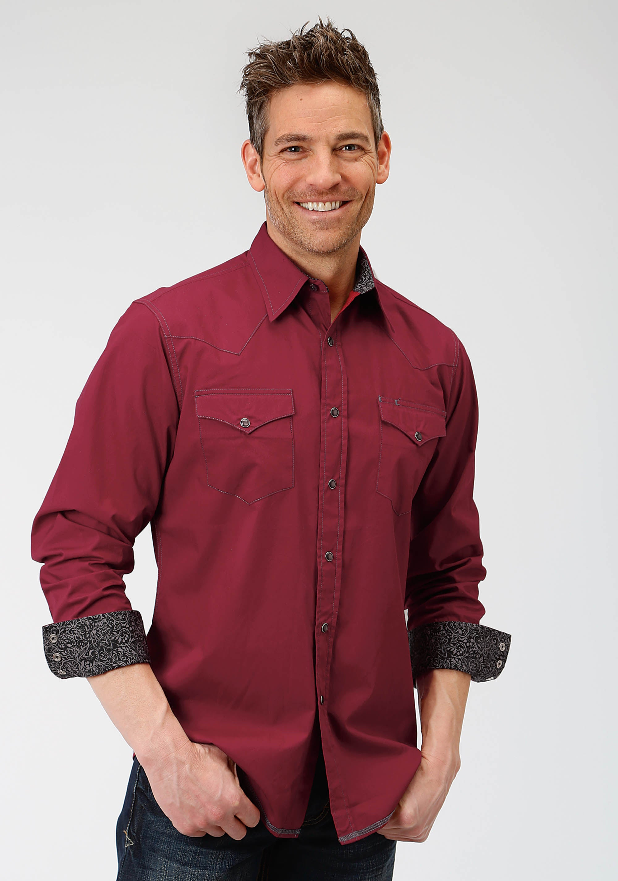 ROPER MENS WINE 3927 SOLID POPLIN - DEEP WINE WEST MADE COLLECTION LONG SLEEVE