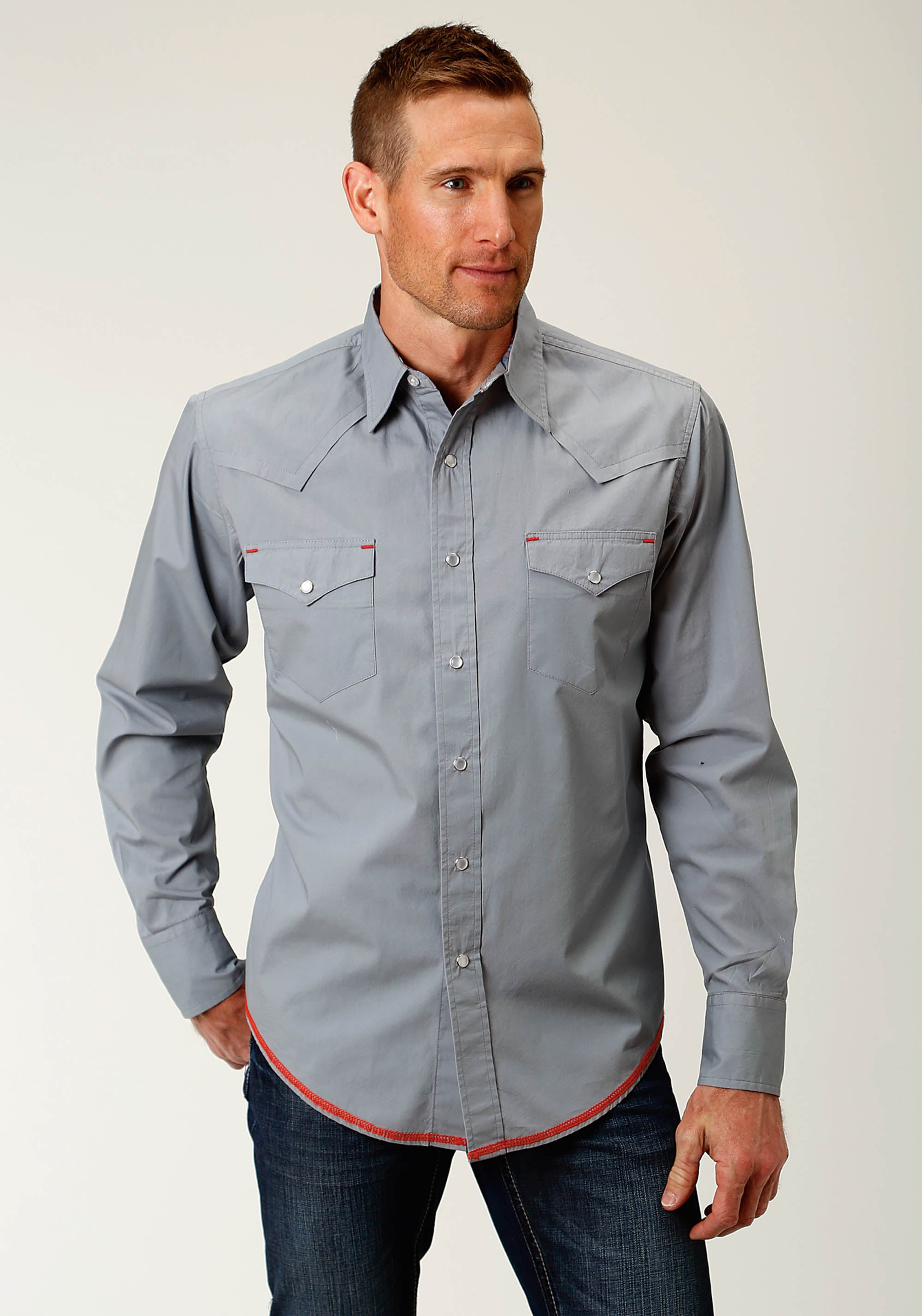 ROPER MENS GREY 2613 SOLID GREY POPLIN WEST MADE COLLECTION LONG SLEEVE