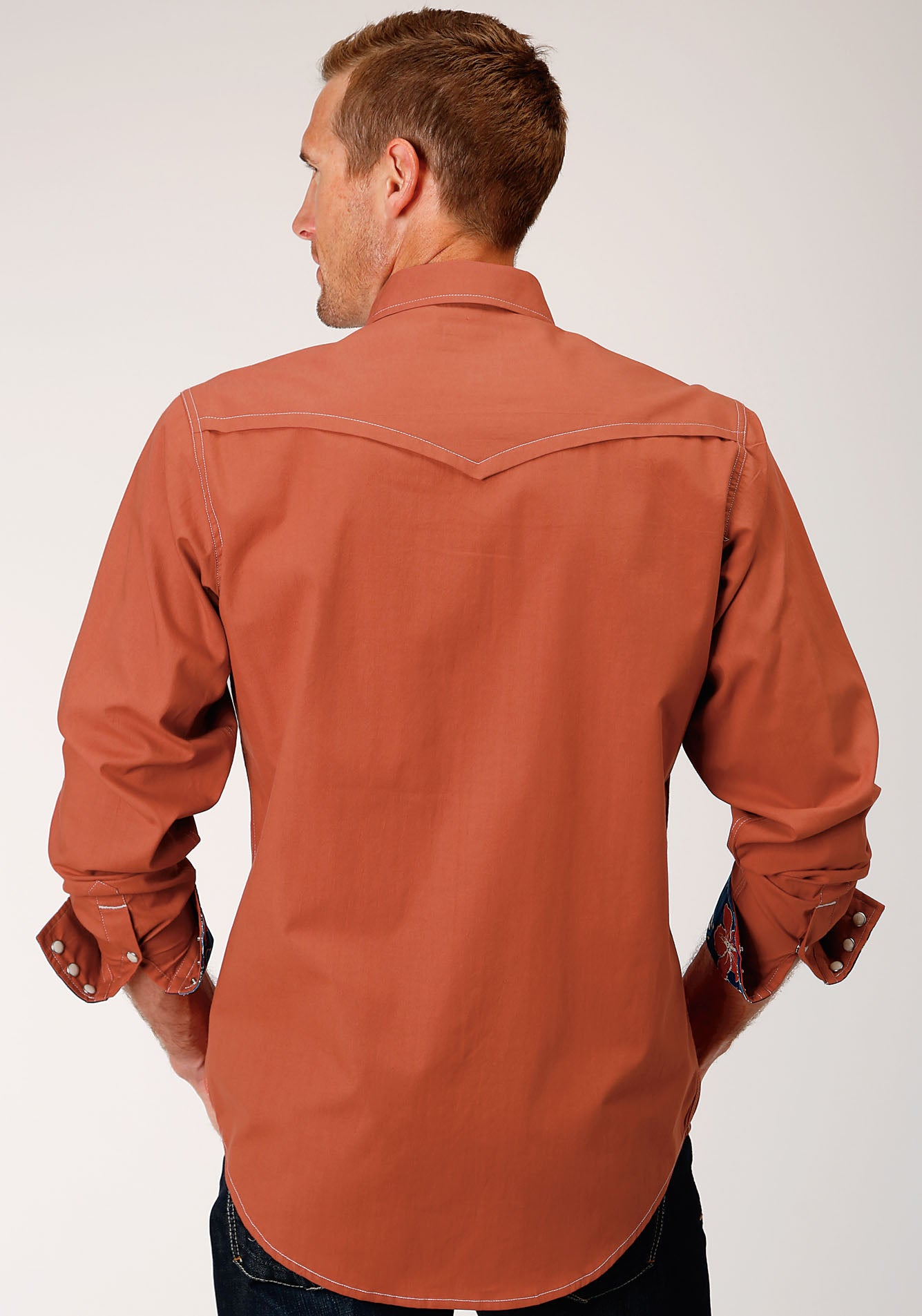 ROPER MENS ORANGE 00106 SOLID POPLIN - ORANGE WEST MADE COLLECTION LONG SLEEVE