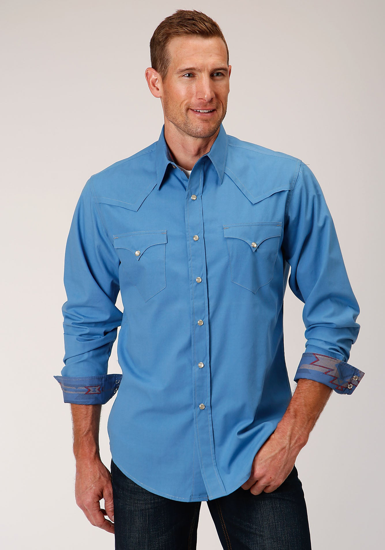 ROPER MENS BLUE 00106 SOLID POPLIN - BLUE WEST MADE COLLECTION LONG SLEEVE