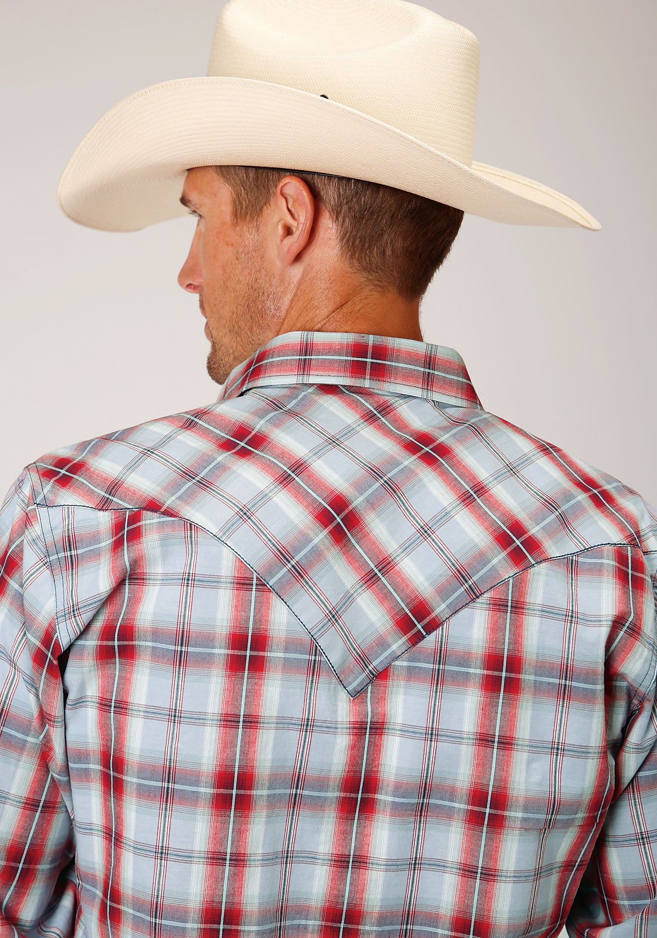 ROPER MENS RED 00080 SANDSTONE PLAID WEST MADE COLLECTION LONG SLEEVE