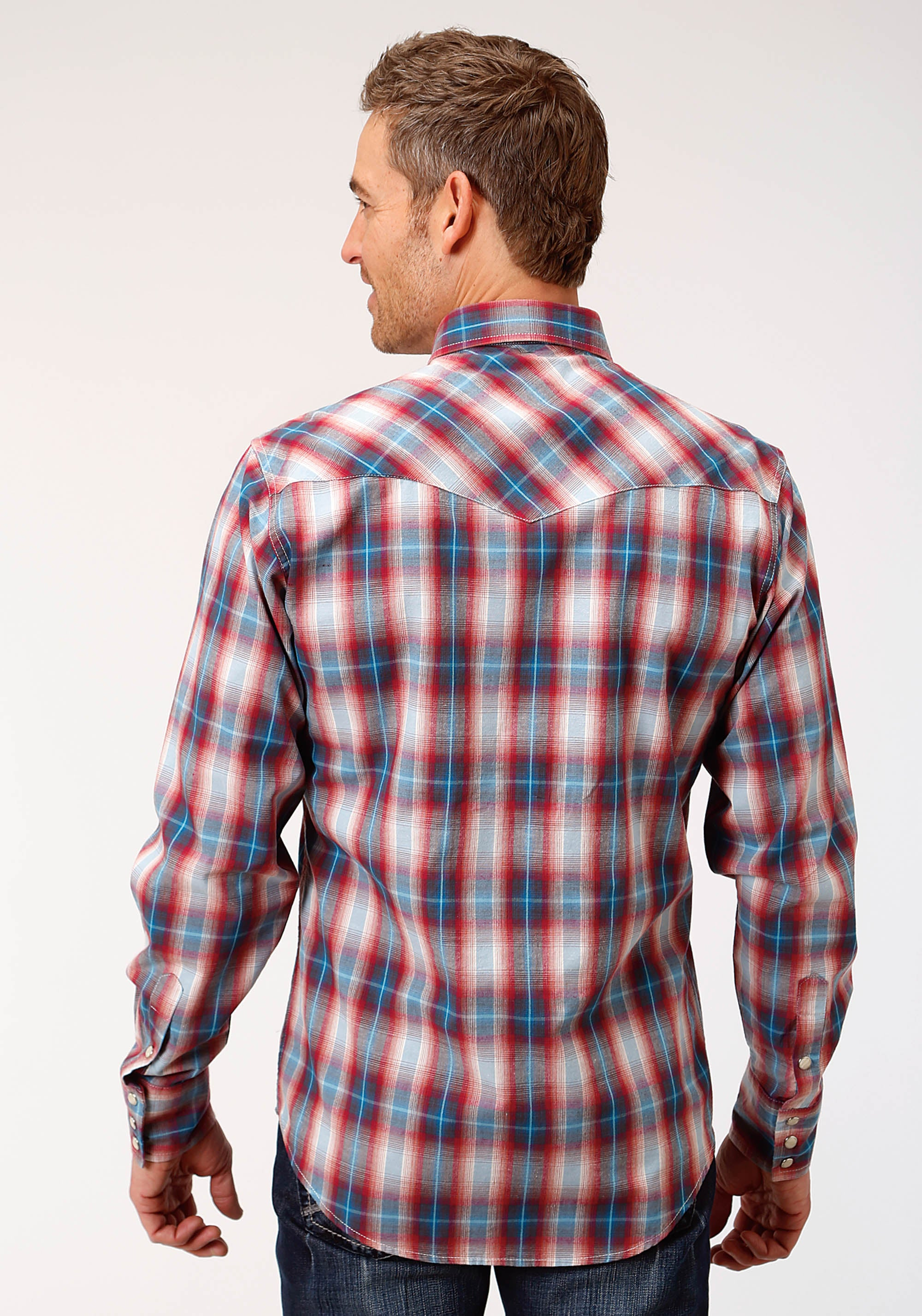 ROPER MENS RED 0756 PAINT BRUSH PLAID WEST MADE COLLECTION LONG SLEEVE