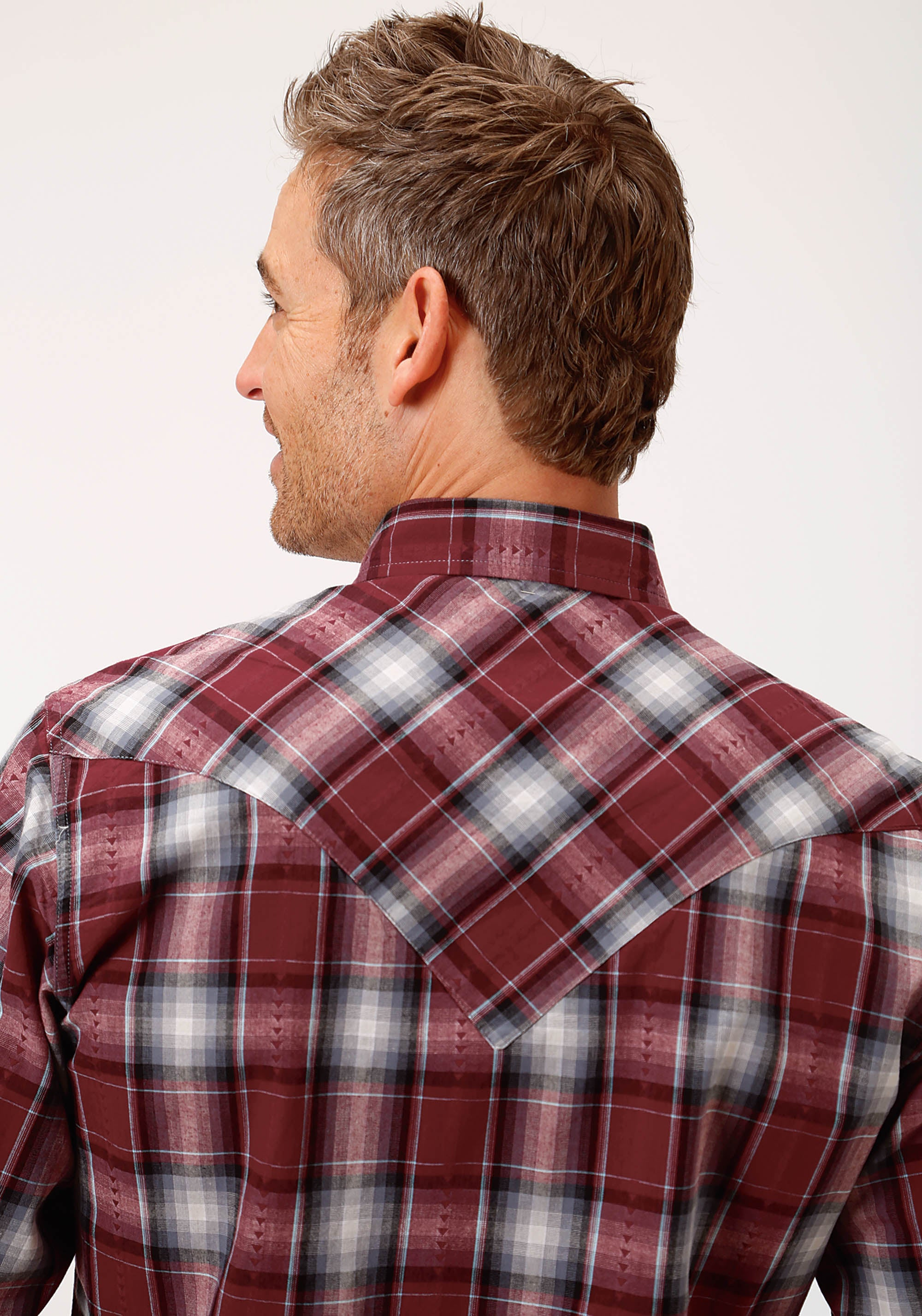 ROPER MENS RED 0716 CARDINAL PLAID DOBBY WEST MADE COLLECTION LONG SLEEVE