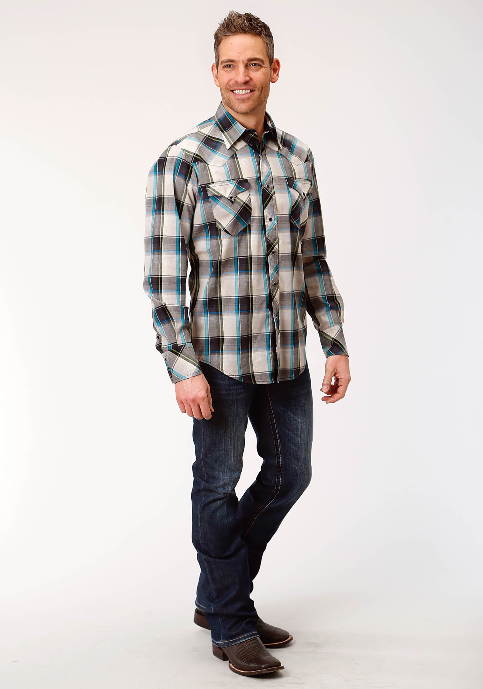ROPER MENS BLACK 0718 DOVE GREY PLAID WEST MADE COLLECTION LONG SLEEVE
