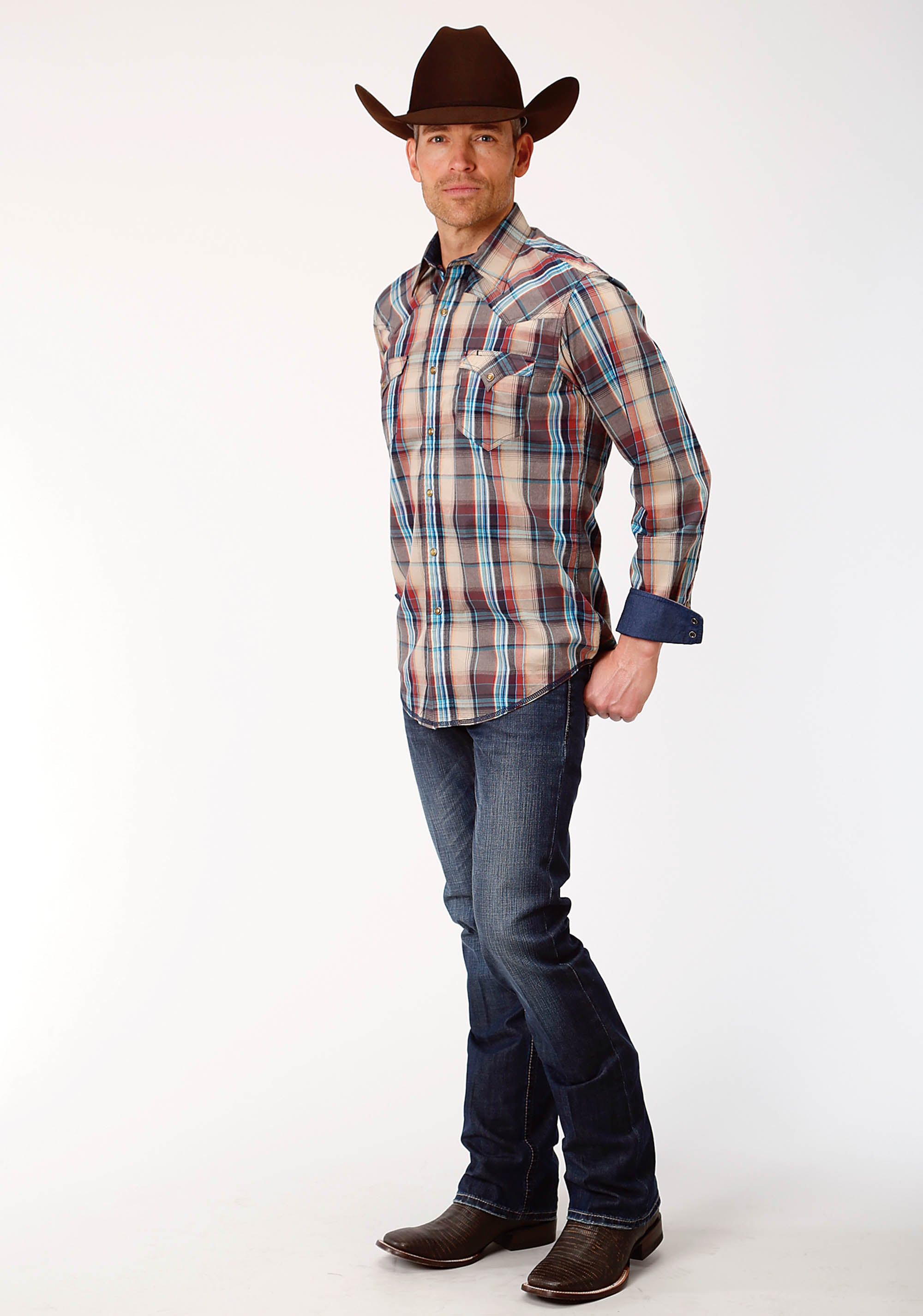 ROPER MENS BROWN 0738 DUSK PLAID WEST MADE COLLECTION LONG SLEEVE