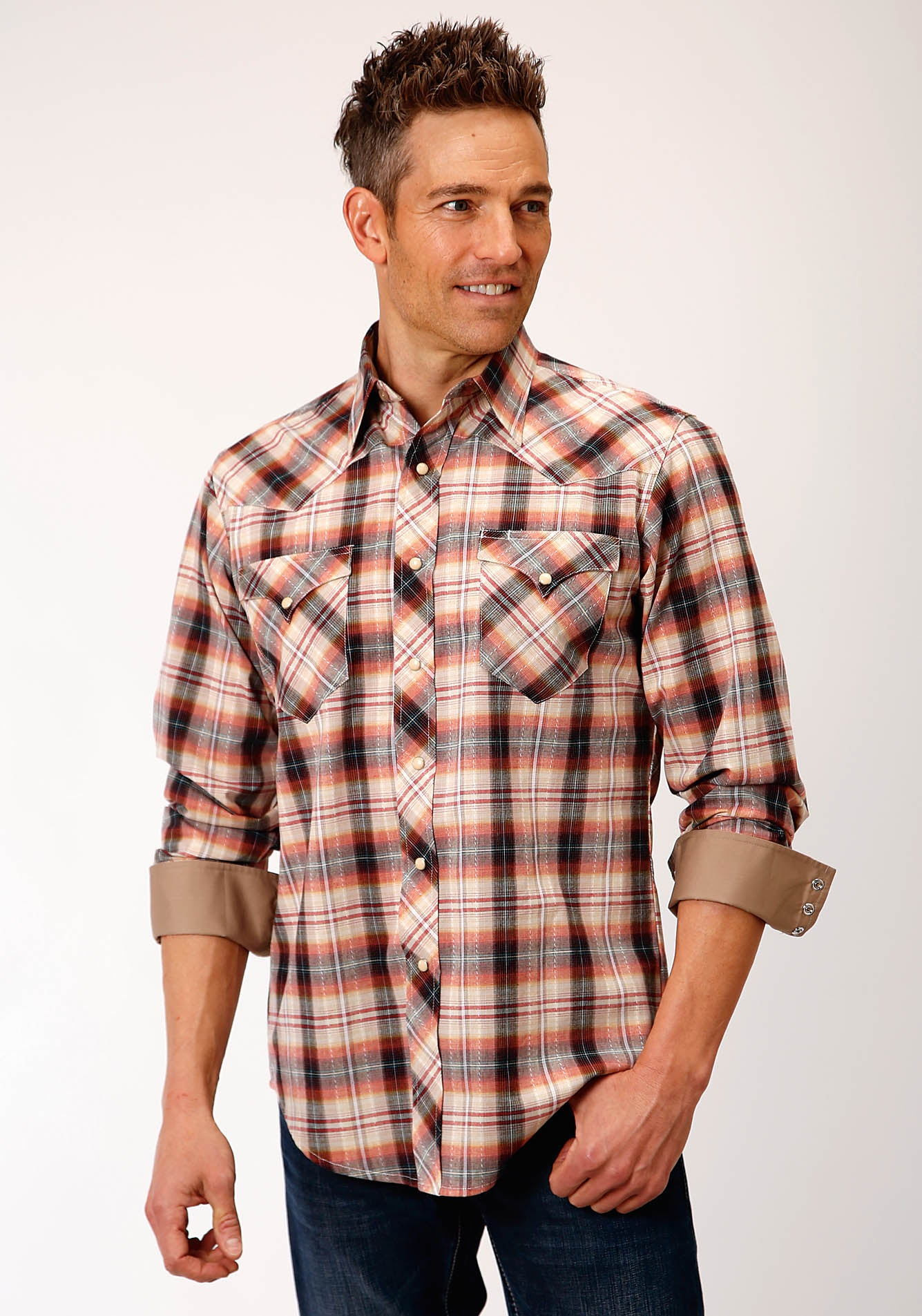 ROPER MENS MULTI 00188 ROPE PLAID WEST MADE COLLECTION LONG SLEEVE