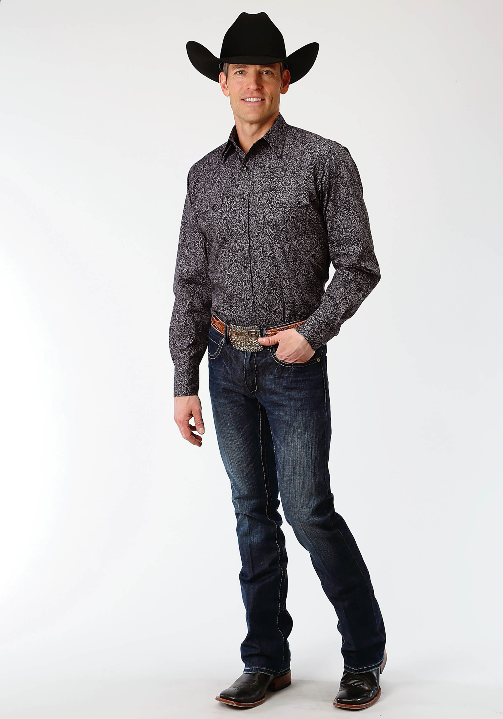 ROPER MENS BLACK 0757 BLACK PAISLEY WEST MADE COLLECTION LONG SLEEVE