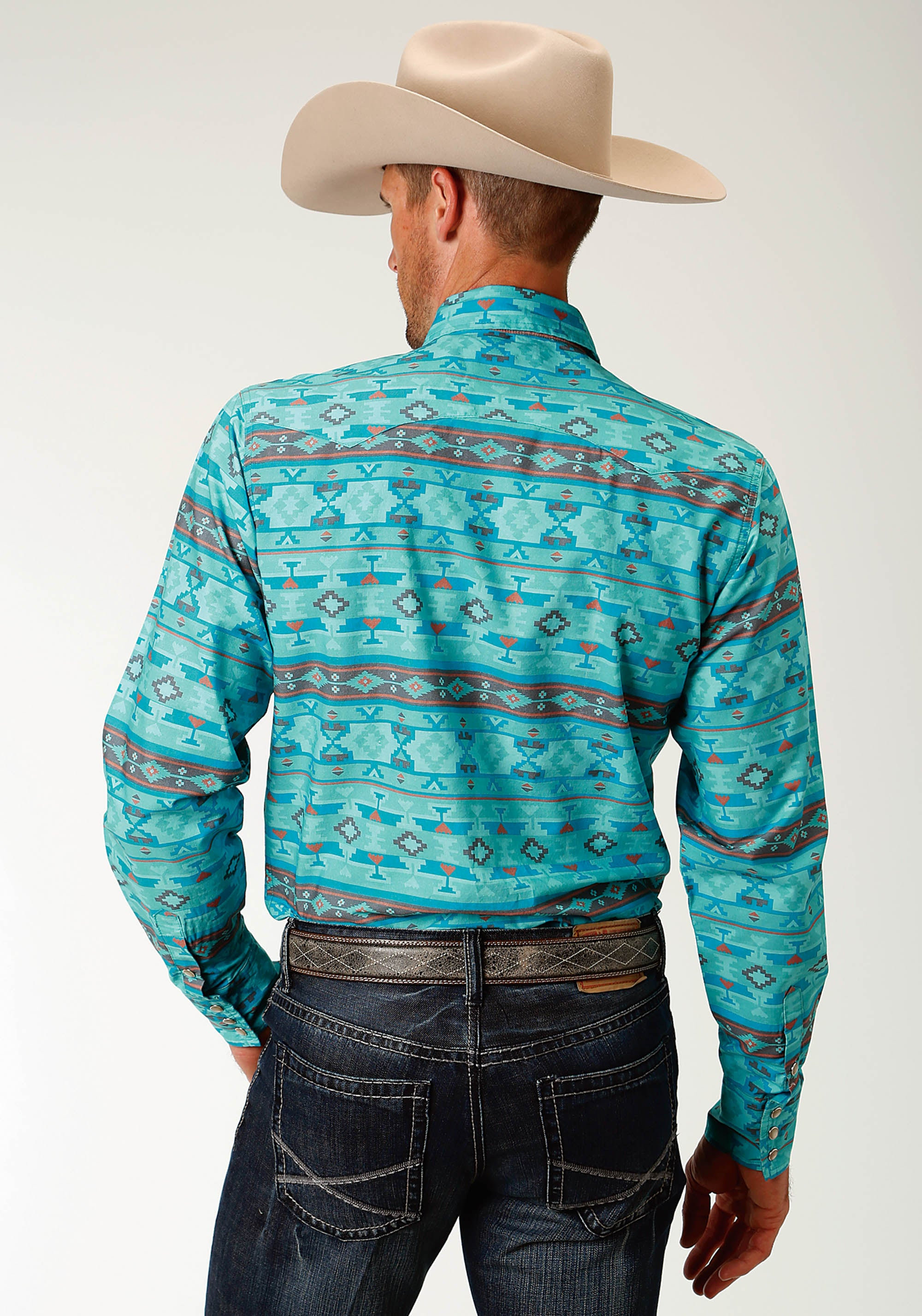 ROPER MENS BLUE 2609 BLUE HORRIZON AZTEC WEST MADE COLLECTION LONG SLEEVE