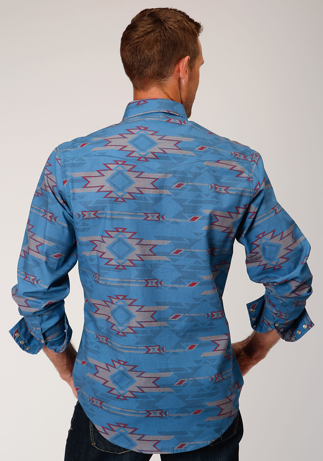 ROPER MENS BLUE 00077 SANDSTORM AZTEC WEST MADE COLLECTION LONG SLEEVE