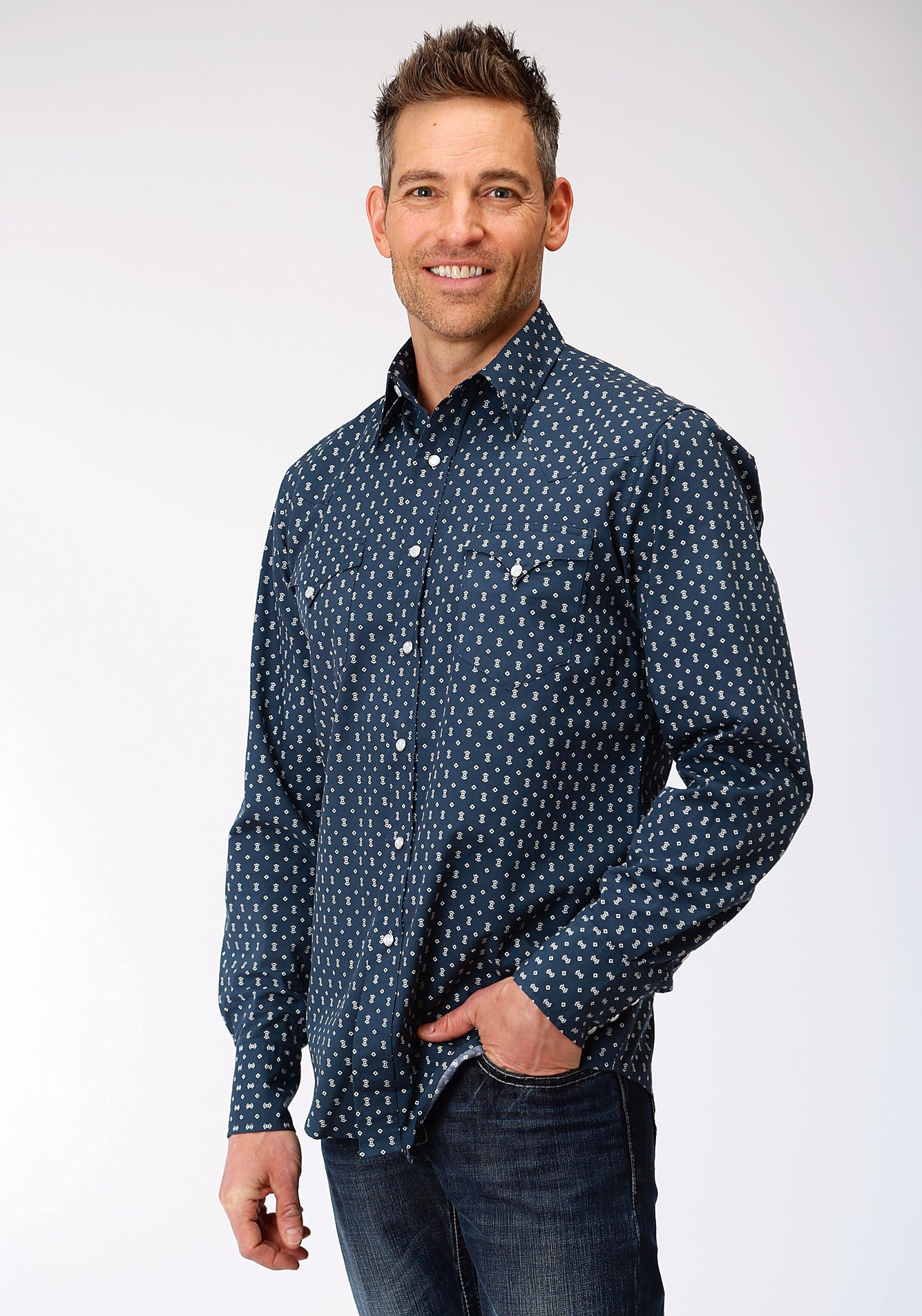 ROPER MENS BLUE 00075 WEB GEO WEST MADE COLLECTION LONG SLEEVE