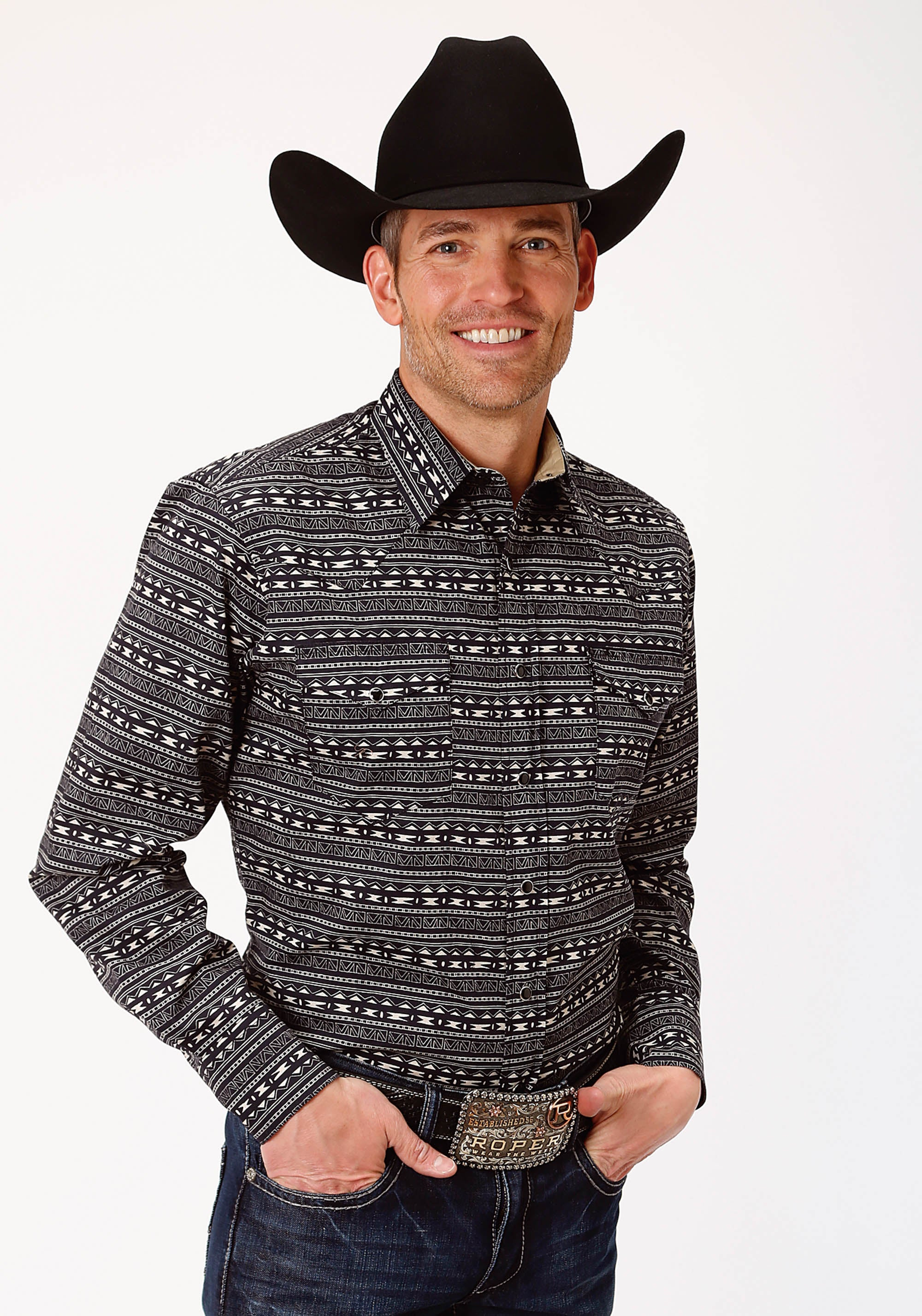 ROPER MENS BLACK 0780 ZIG ZAG PRINT WEST MADE COLLECTION LONG SLEEVE