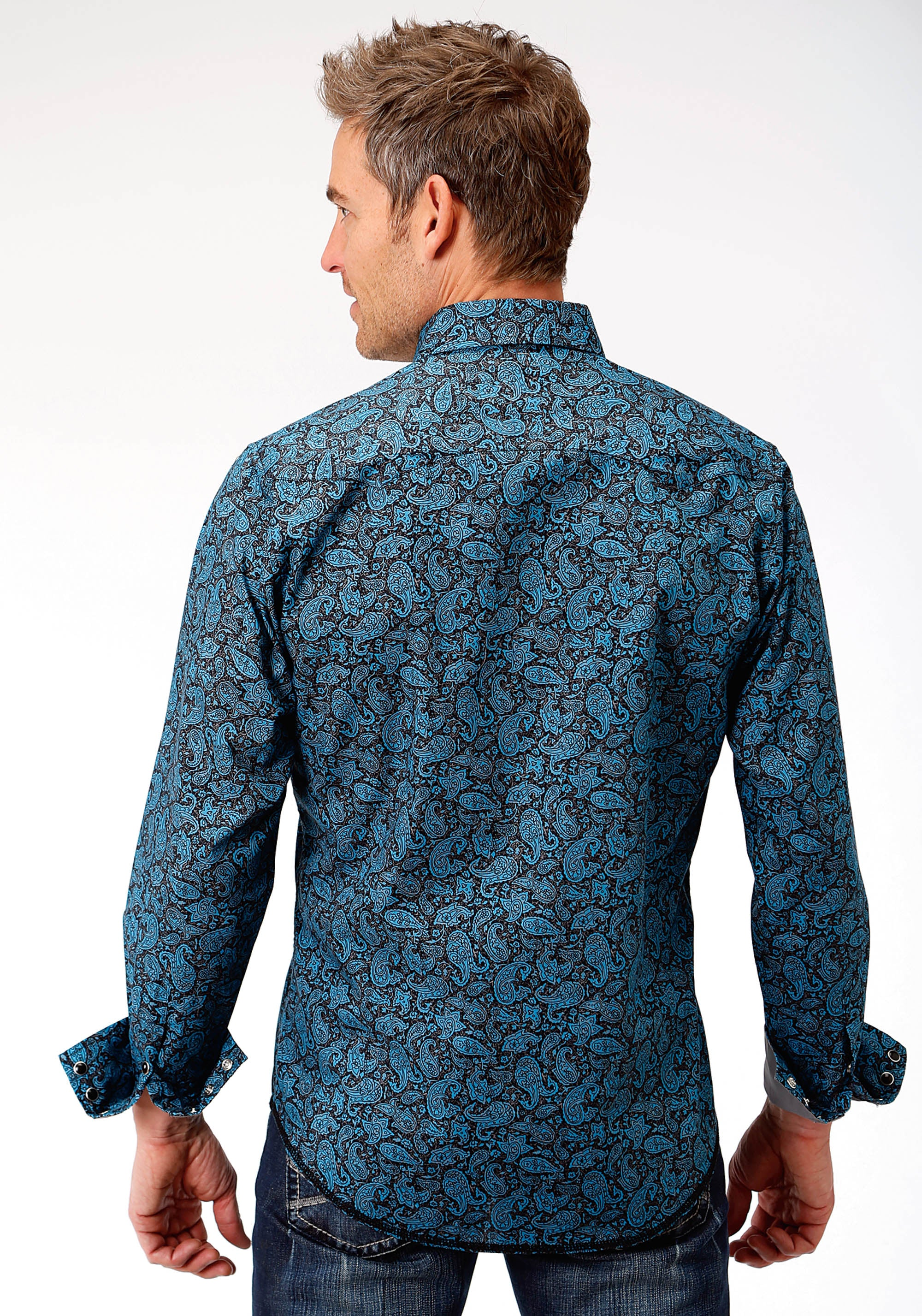 ROPER MENS BLUE 0785 PAISLEY CRACKLE WEST MADE COLLECTION LONG SLEEVE