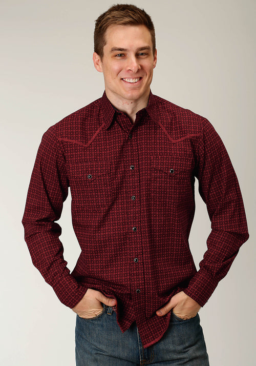 ROPER MENS RED 2063 VINTAGE FOULARD WEST MADE COLLECTION LONG SLEEVE