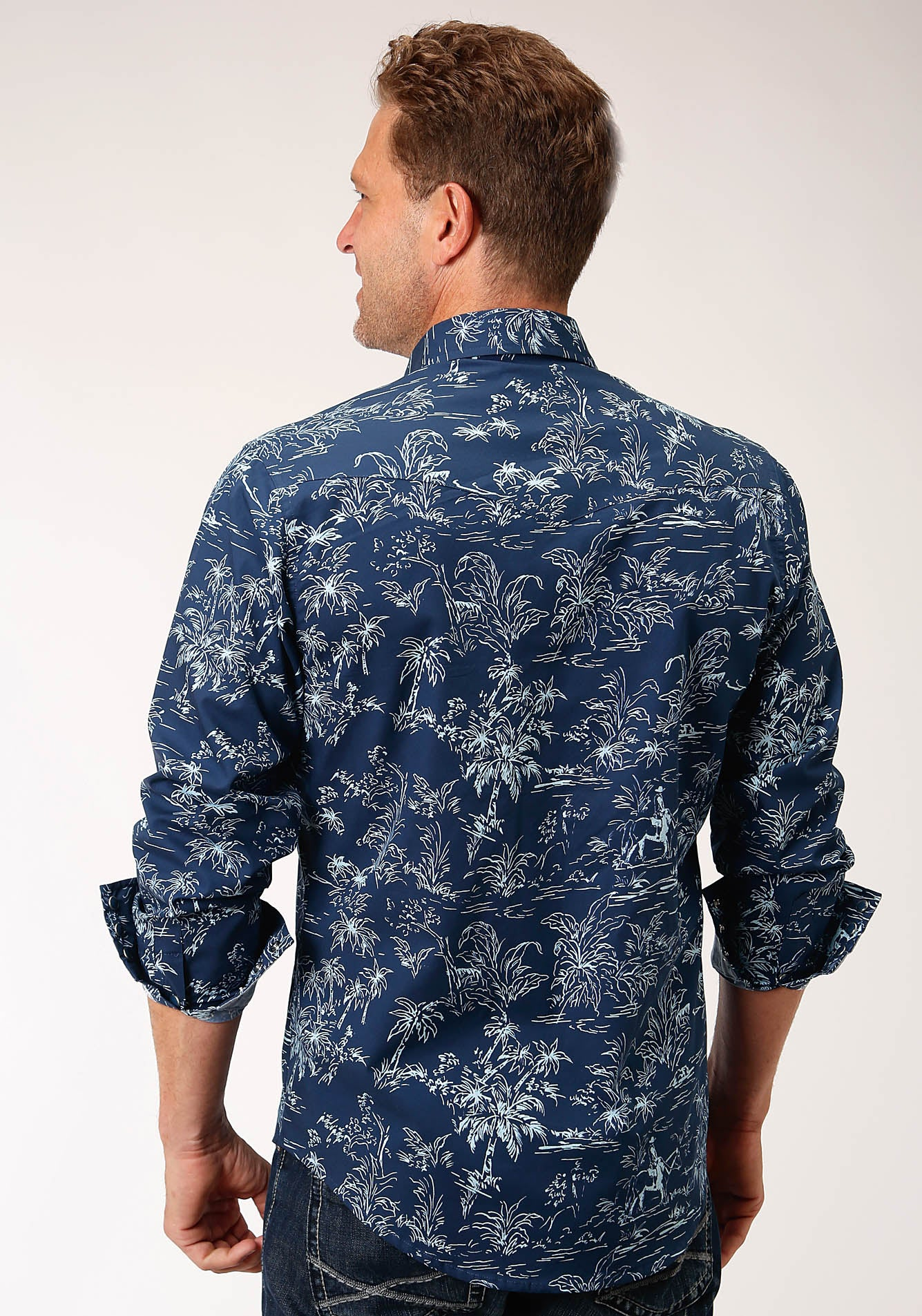 ROPER MENS BLUE 00181 THE TROPICS PRINT WEST MADE COLLECTION LONG SLEEVE