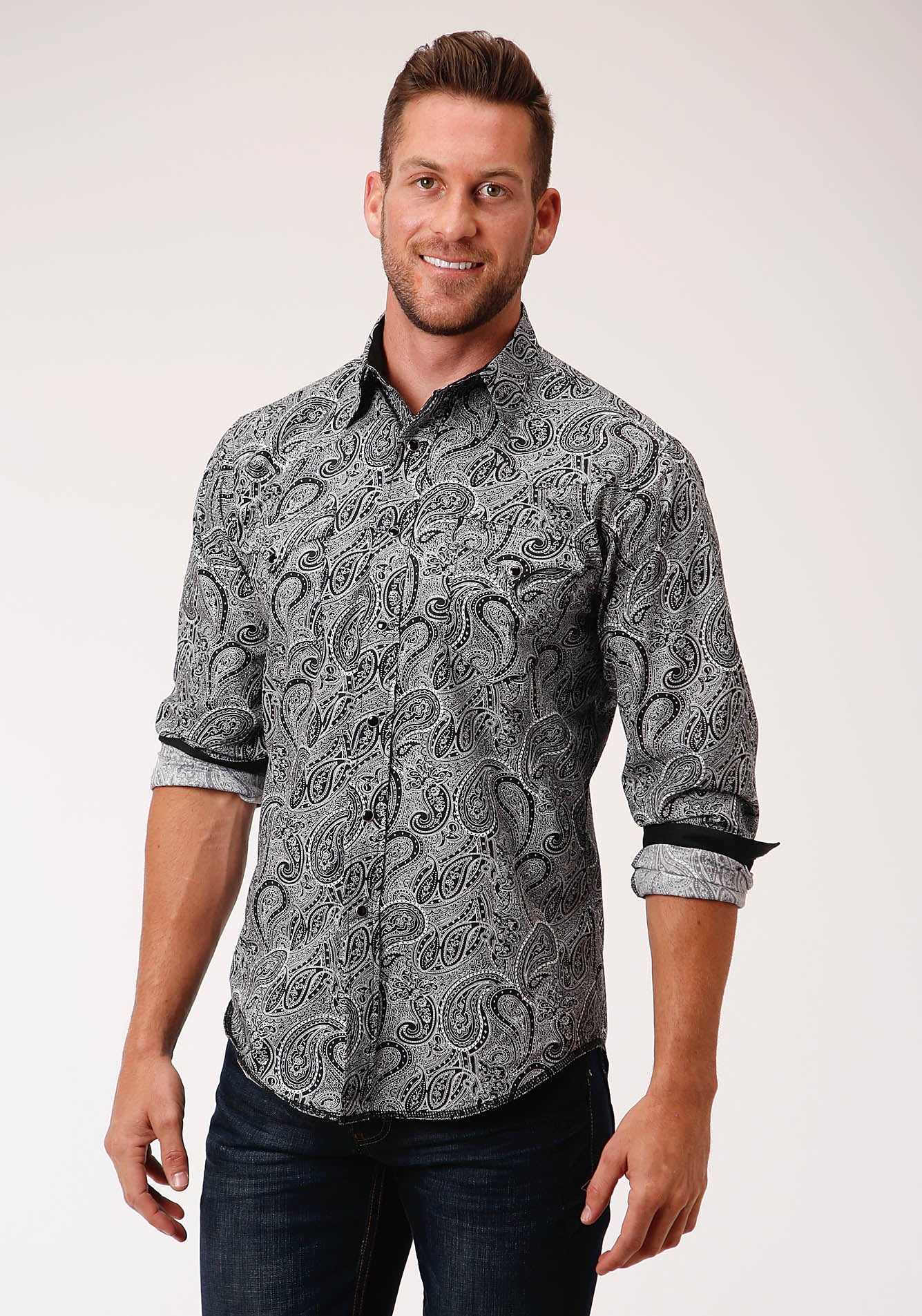 ROPER MENS BLACK 00186 BLACK PAISLEY WEST MADE COLLECTION LONG SLEEVE