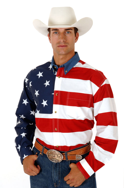 ROPER MENS RED STARS & STRIPES PIECED AMERICAN FLAG PATRIOTIC COLLECTION LONG SLEEVE SHIRT