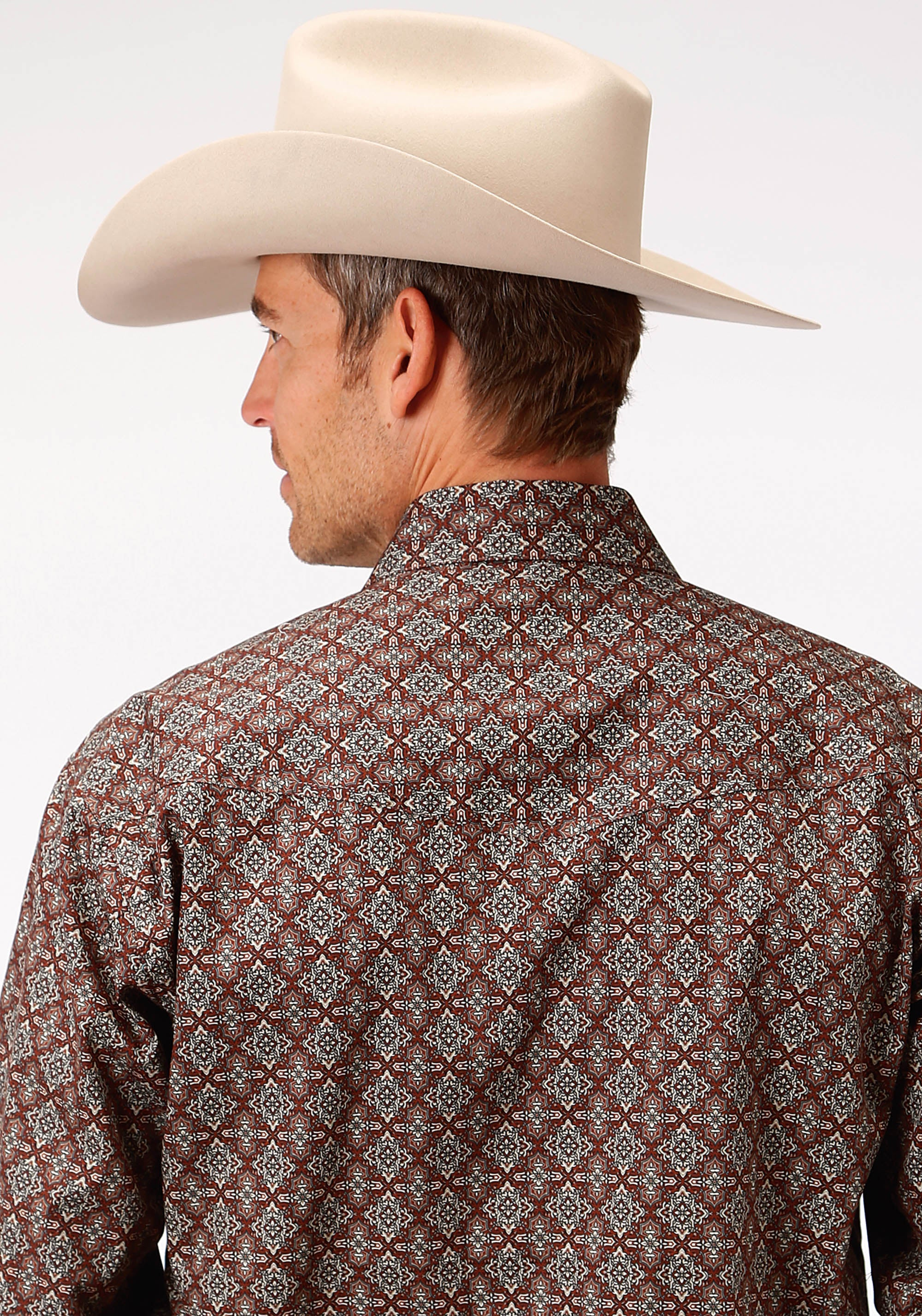 ROPER MENS BROWN 9644 VICTORIAN FOULARD MEN'S AMARILLO COLLECTION- COPPER CREEK LONG SLEEVE