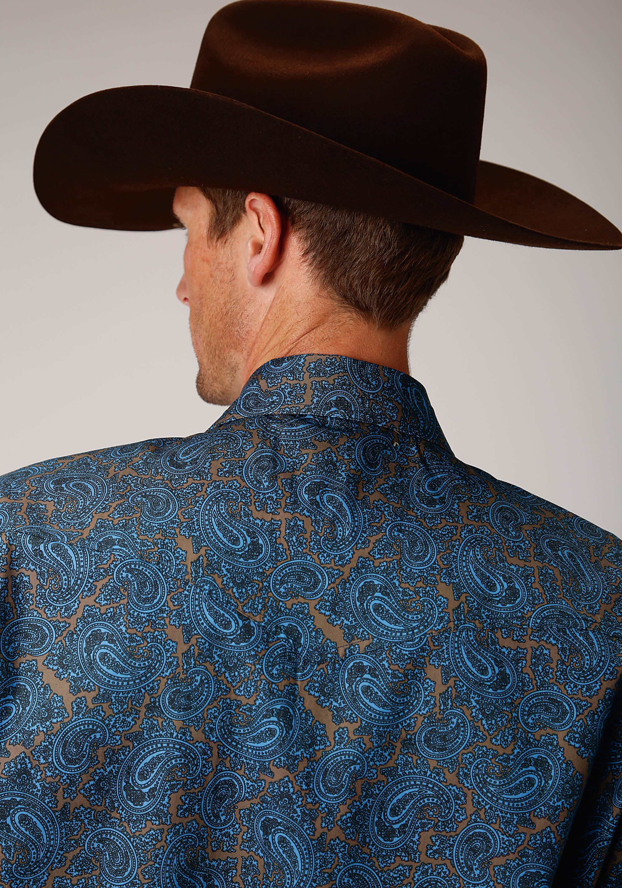 ROPER MENS BLUE 00267 BLUE PAISLEY MEN'S AMARILLO COLLECTION- CEDAR BROOK LONG SLEEVE