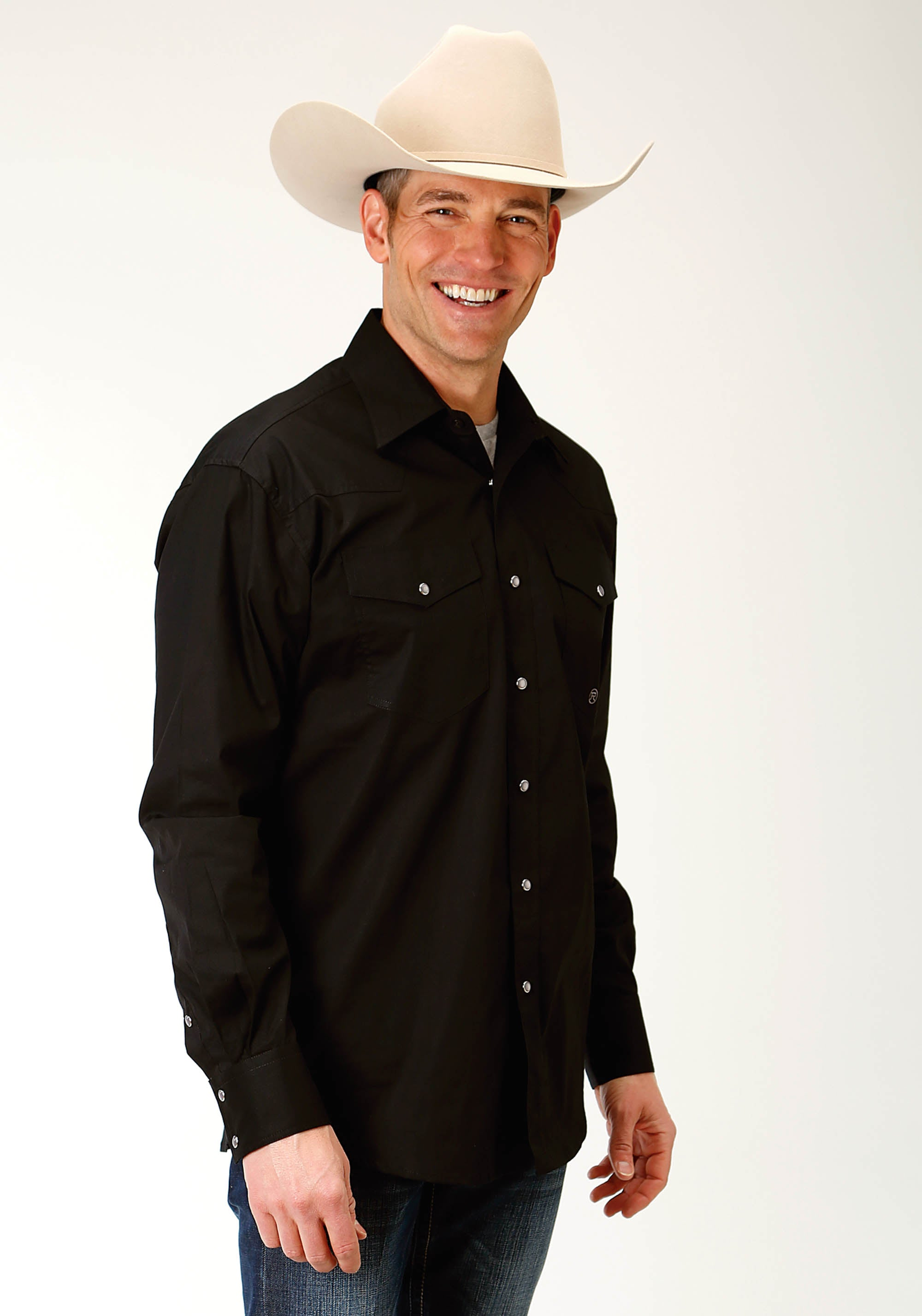 ROPER MENS BLACK 2226 SOLID POPLIN - BLACK MEN'S AMARILLO COLLECTION- RED CANYON LONG SLEEVE