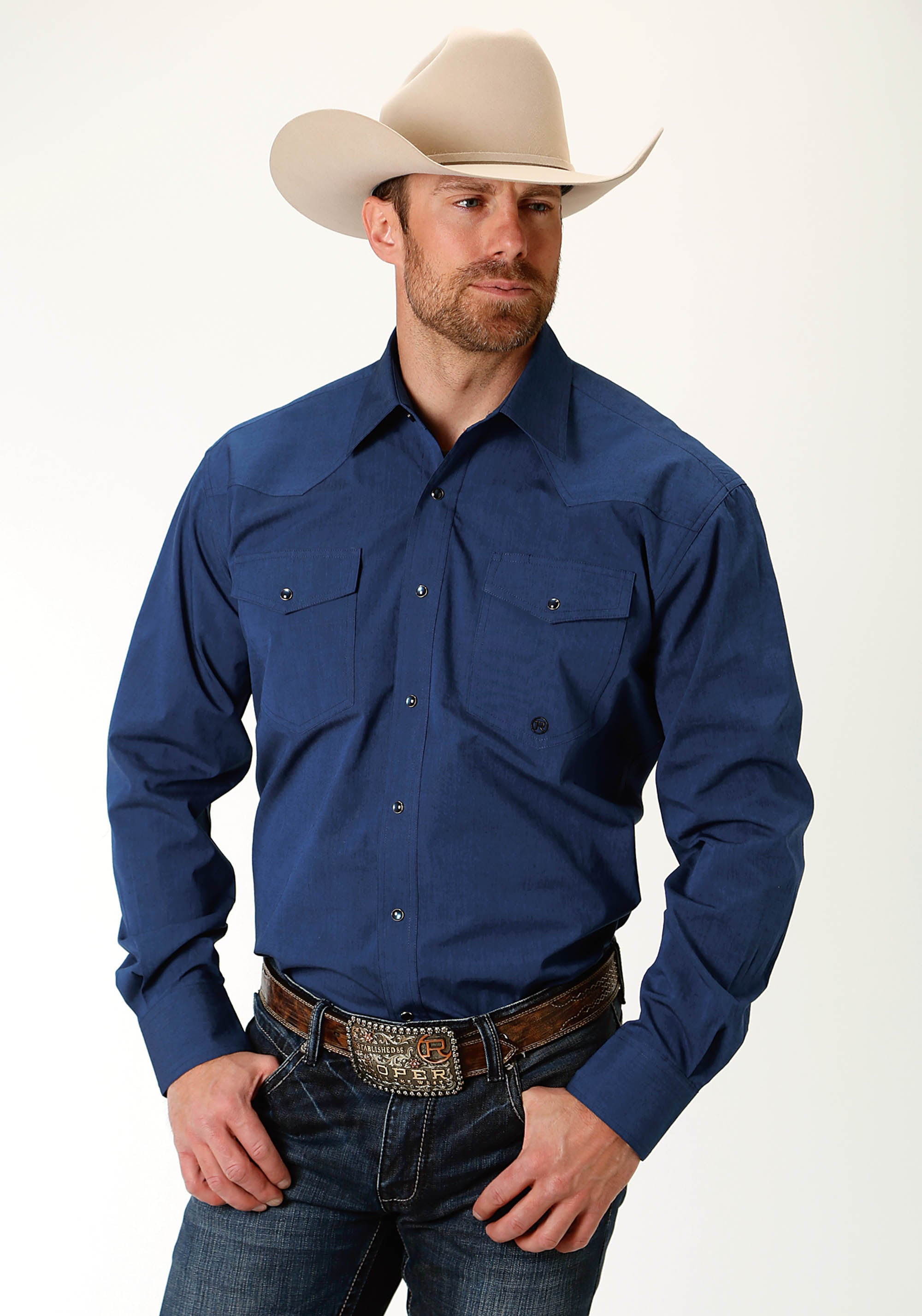 ROPER MENS BLUE 2227 BLACK FILL SOLID - ROYAL MEN'S AMARILLO COLLECTION- SHADOW LAKE LONG SLEEVE